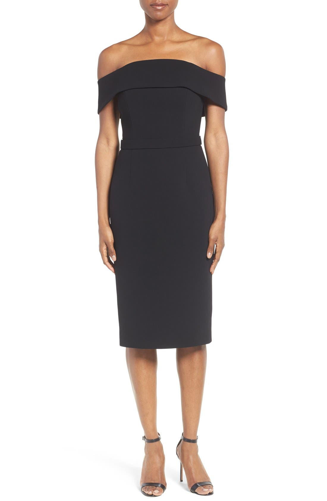 Main Image - BOSS Diany Off the Shoulder Bonded Crepe Cocktail Dress
