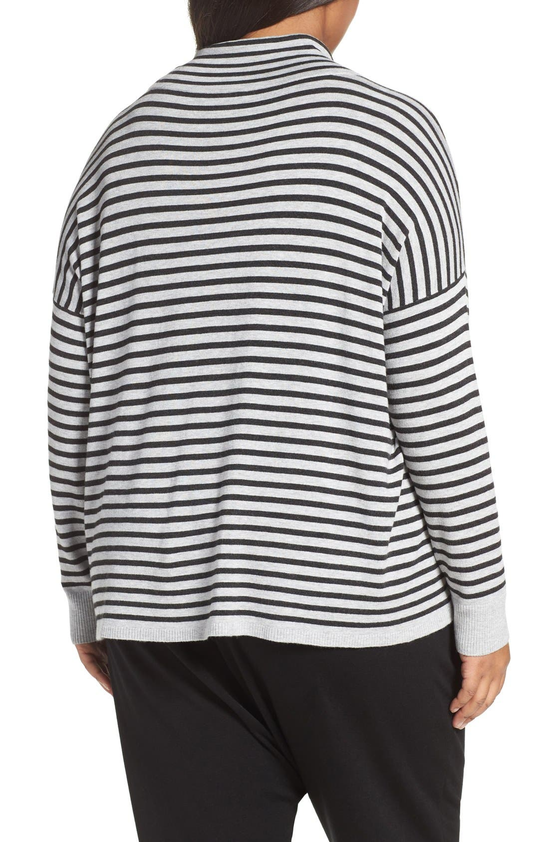Alternate Image 2  - Eileen Fisher Stripe Funnel Neck Pullover (Plus Size)