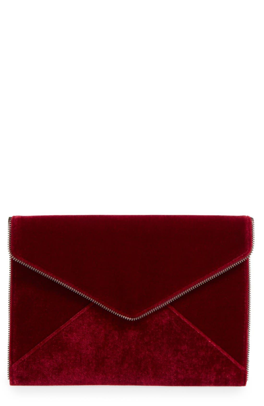 Leo Velvet Envelope Clutch,                             Main thumbnail 1, color,                             Soft Berry/ Gunmetal Hrdwr
