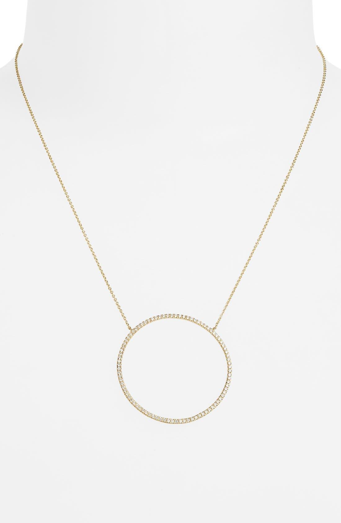 Large Circle Pendant Necklace,                             Alternate thumbnail 2, color,                             Yellow Gold