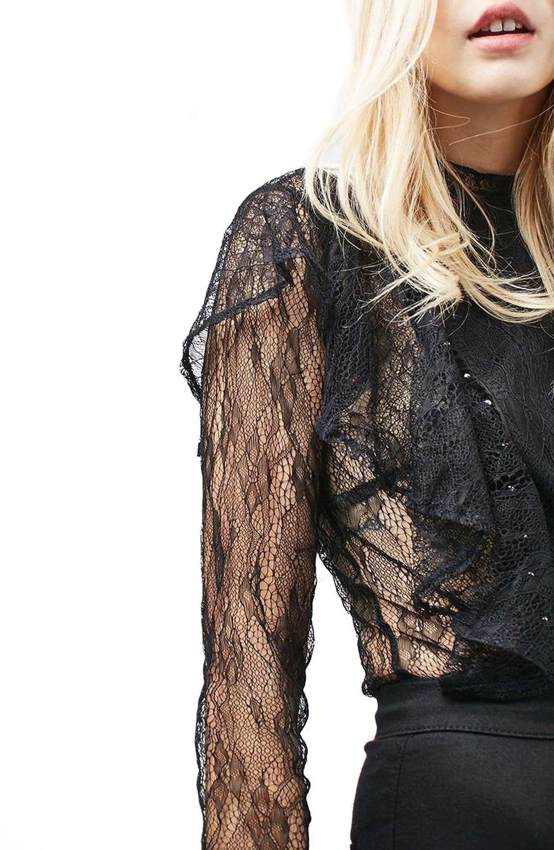 Alternate Image 4  - Topshop Ruffle Stud Lace Top