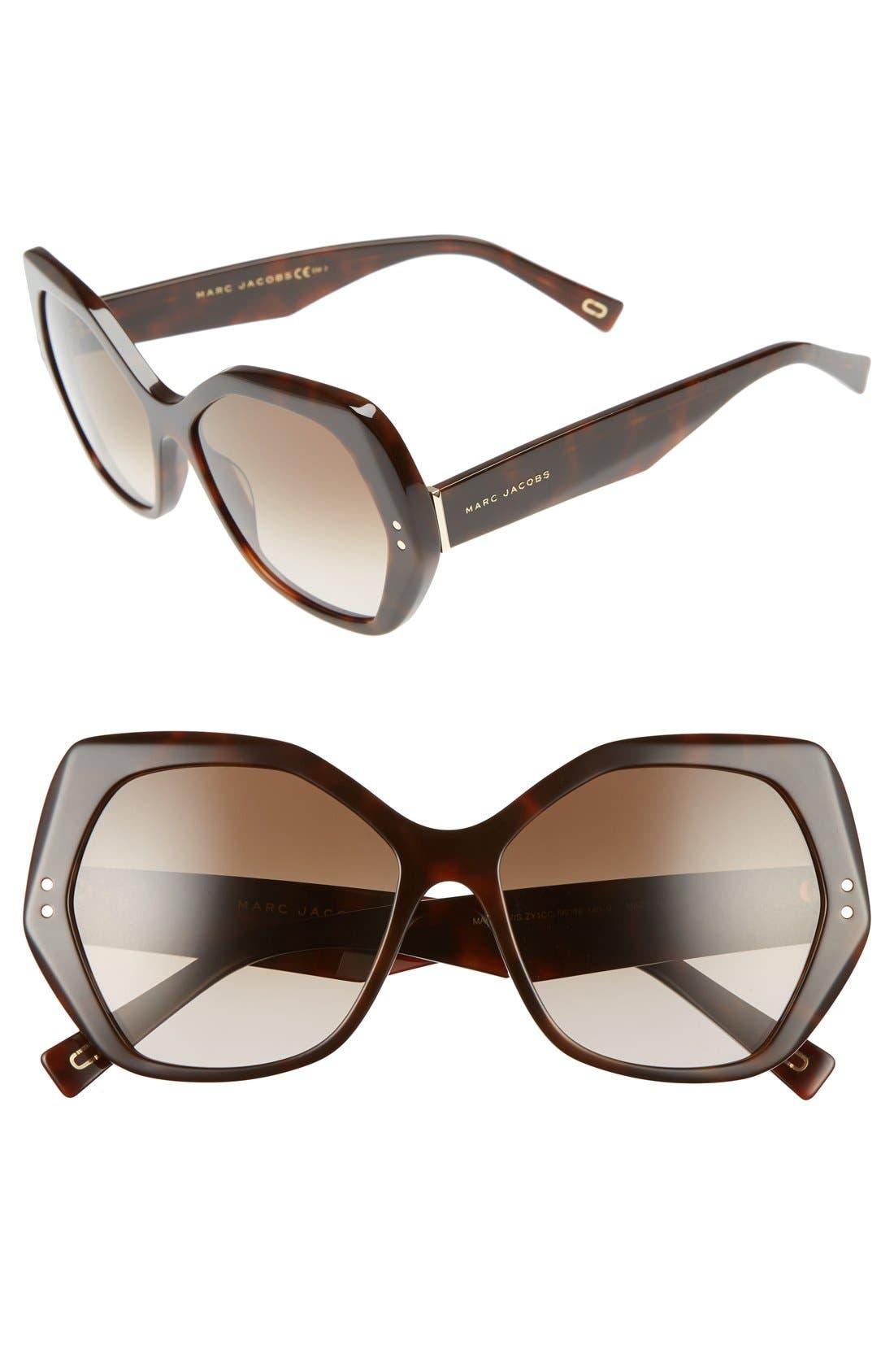 56mm Sunglasses,                         Main,                         color, Havana Medium
