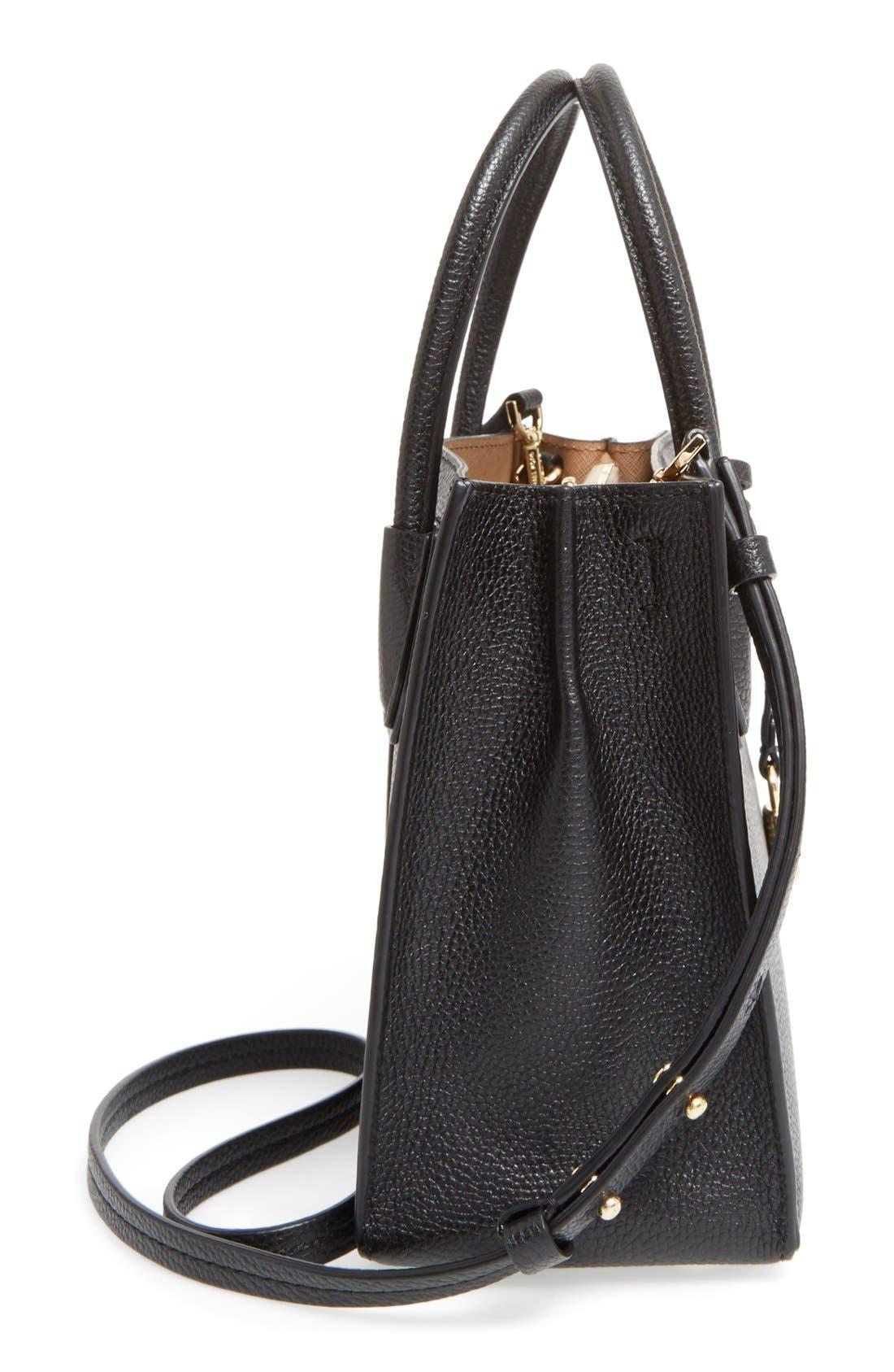 Mercer Leather Crossbody Bag,                             Alternate thumbnail 5, color,                             Black/ Gold
