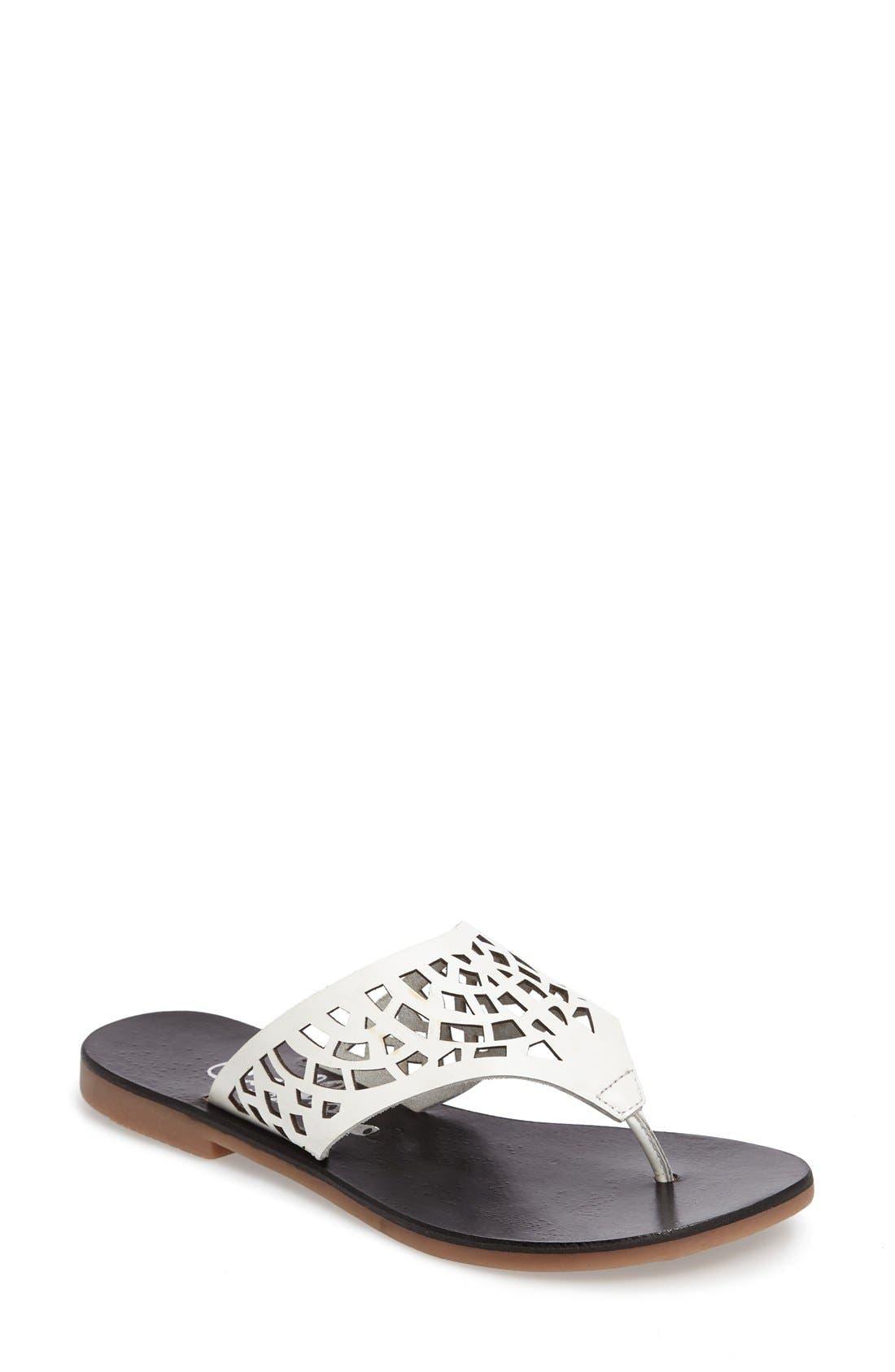 Daria Flip Flop,                             Main thumbnail 1, color,                             White Faux Leather