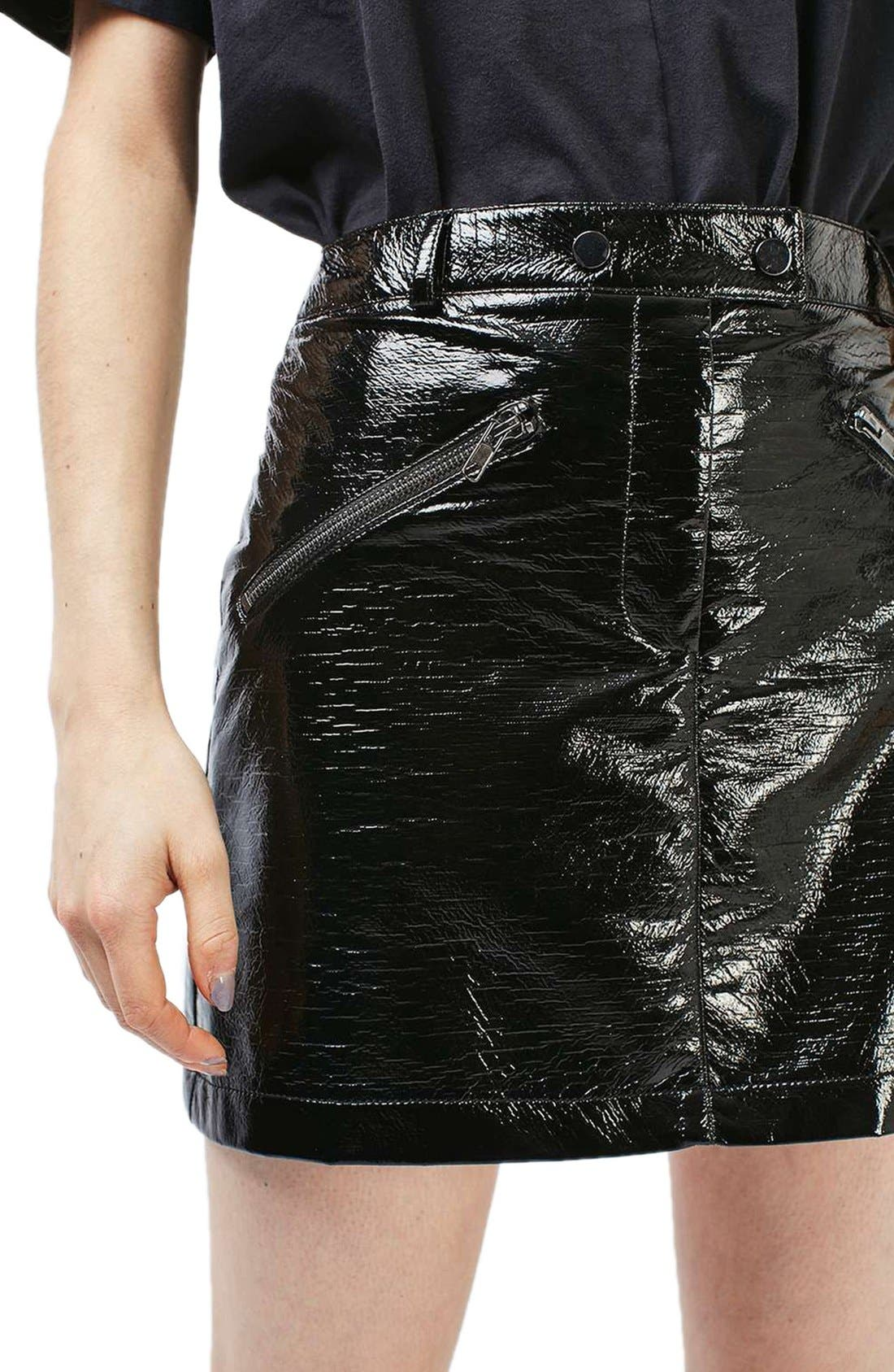 Alternate Image 5  - Topshop Faux Leather Miniskirt