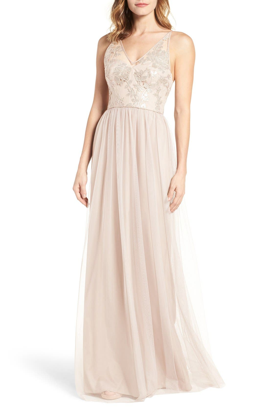 Sora Sequin & Lace Gown,                         Main,                         color, Fawn