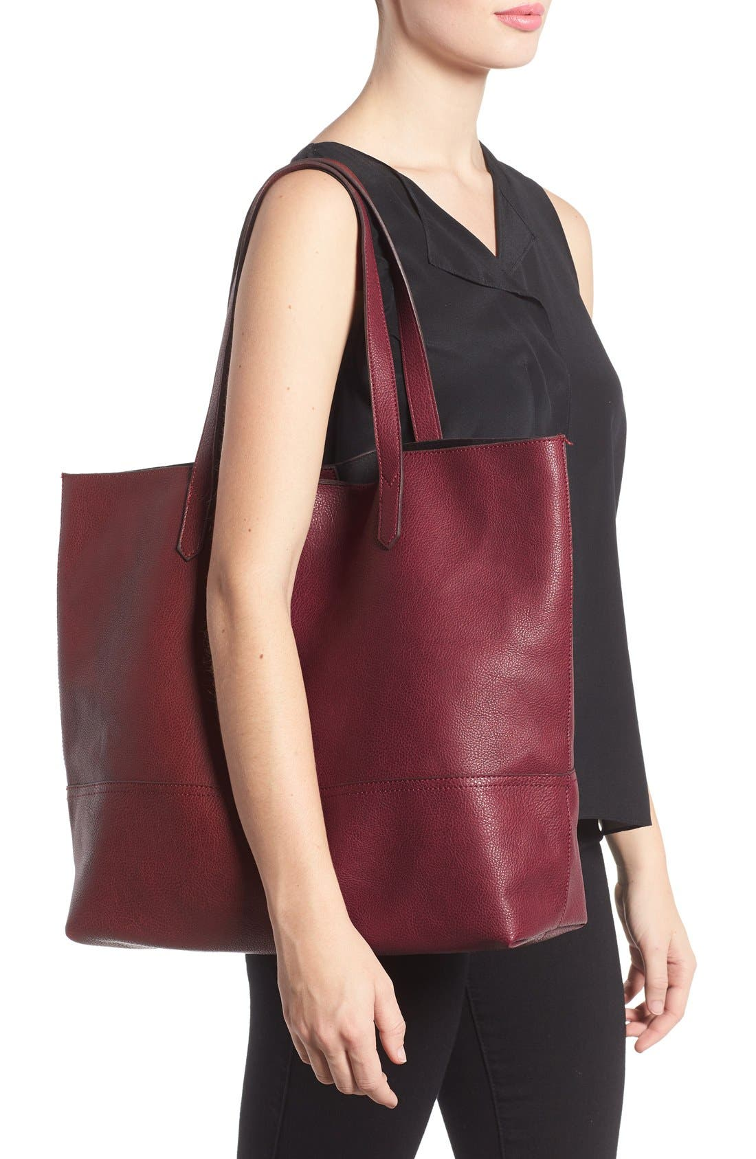 Dawson Oversize Faux Leather Shopper,                             Alternate thumbnail 2, color,                             Oxblood