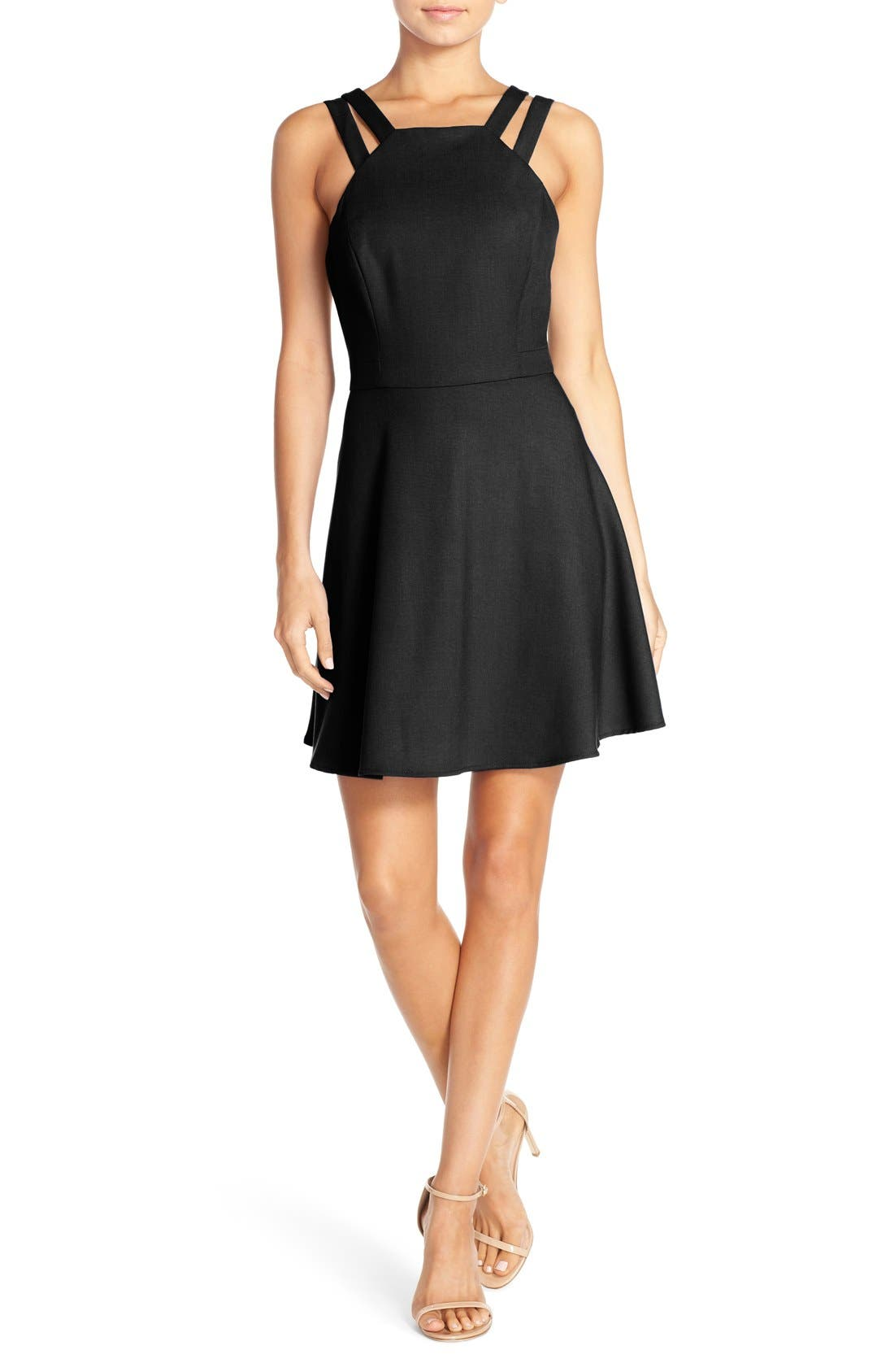 Whisper Light Fit & Flare Dress,                         Main,                         color, New Black