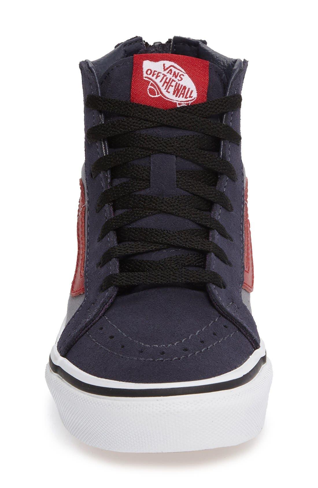 SK8-Hi Zip Pop Sneaker,                             Alternate thumbnail 3, color,                             Parisian Night/ Racing Red
