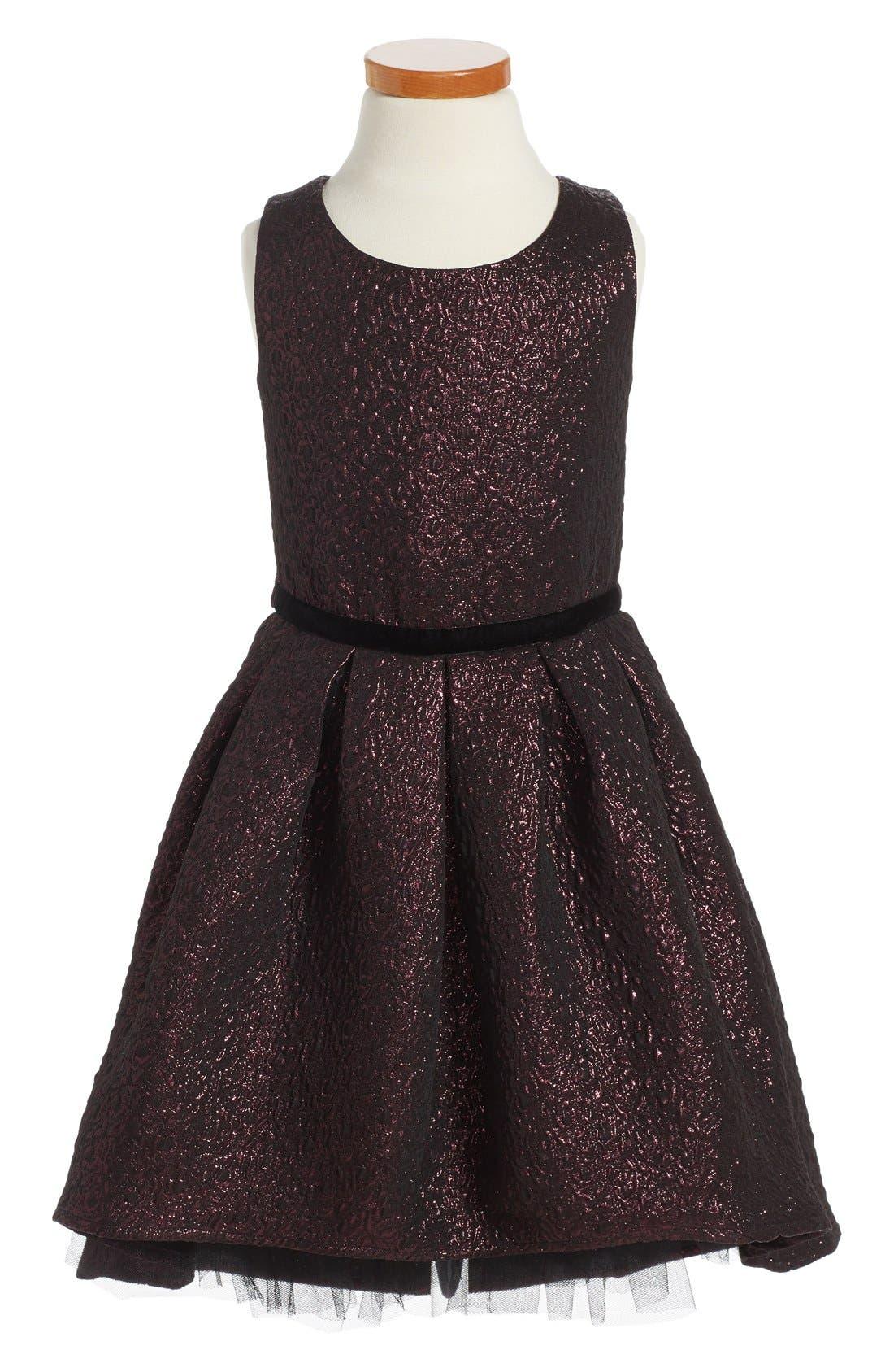 Main Image - Zunie Brocade Fit & Flare Dress (Toddler Girls, Little Girls & Big Girls)