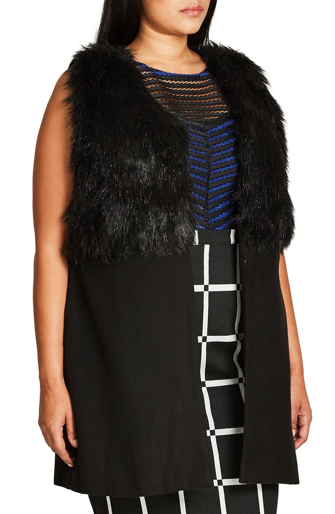 Rococo Faux Fur Trim Vest,                             Alternate thumbnail 3, color,                             Black
