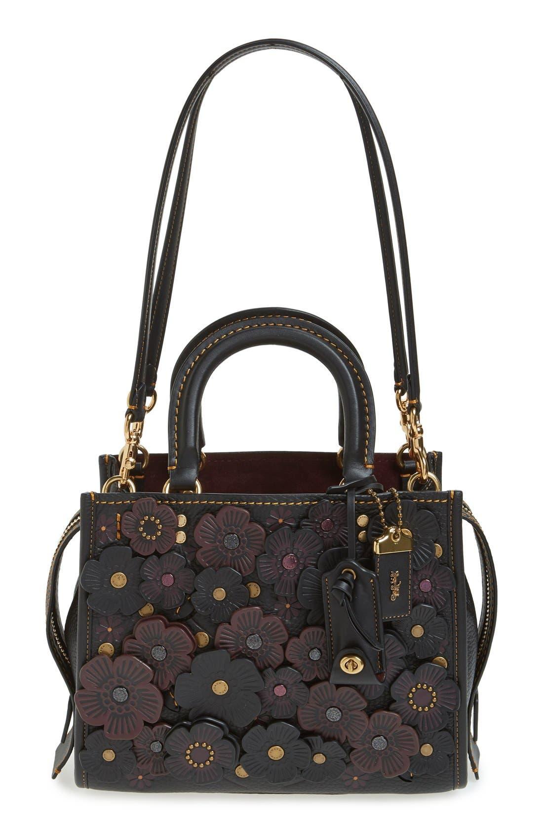 COACH 1941 Rogue 25 Tea Rose Appliqué Leather Crossbody Bag