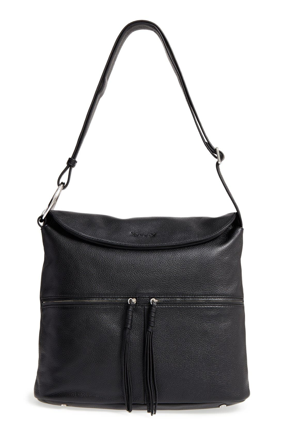 Finley Leather Hobo Bag,                             Main thumbnail 1, color,                             Black