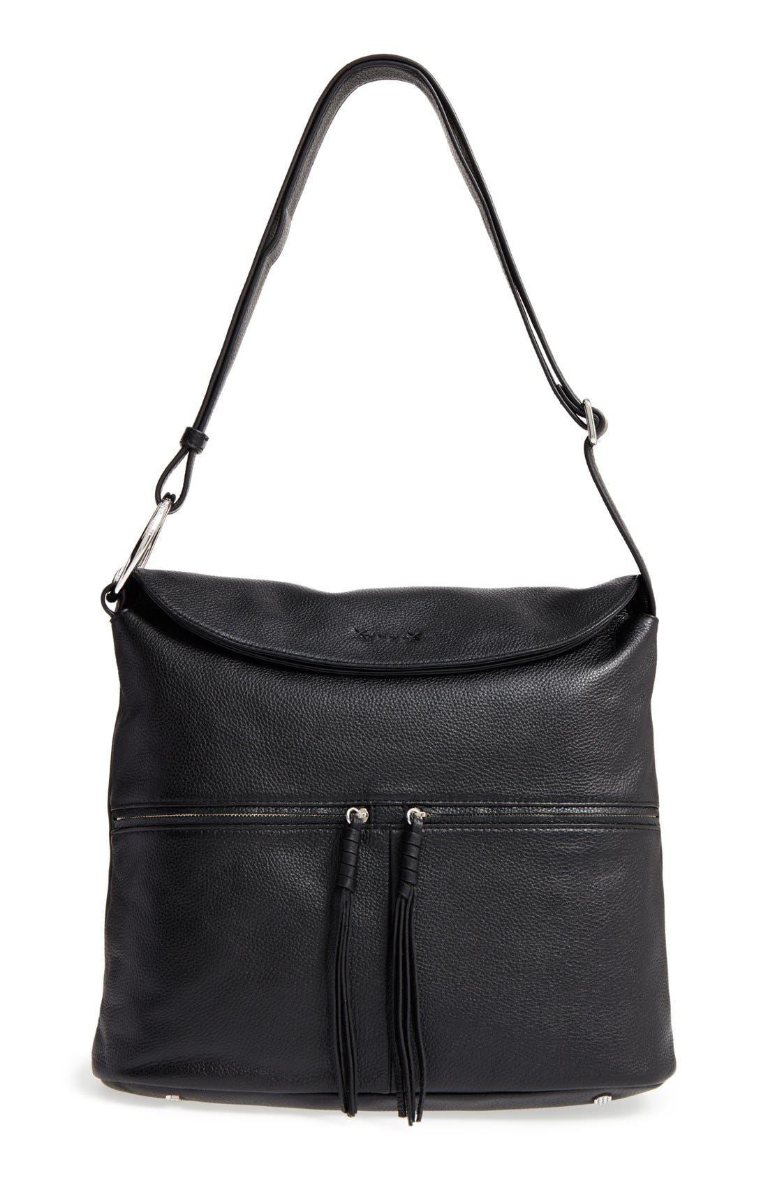 Finley Leather Hobo Bag,                         Main,                         color, Black