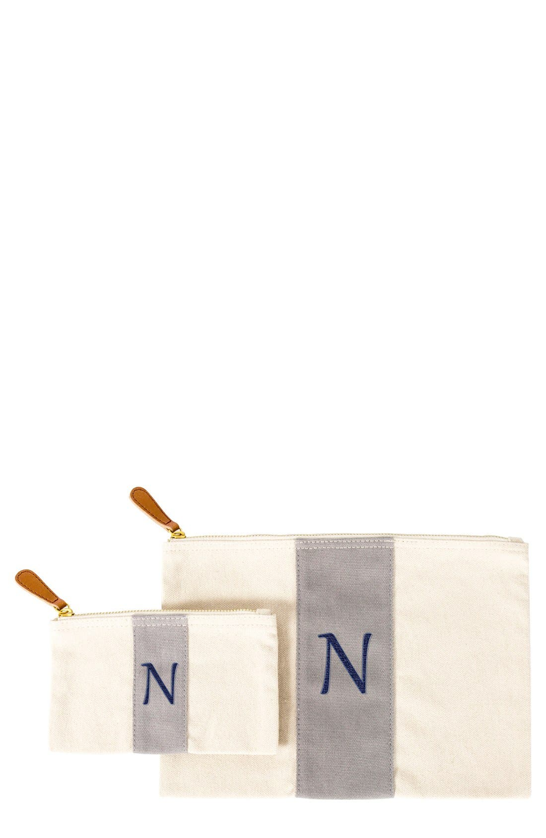 Personalized Canvas Clutch,                         Main,                         color, Grey-N