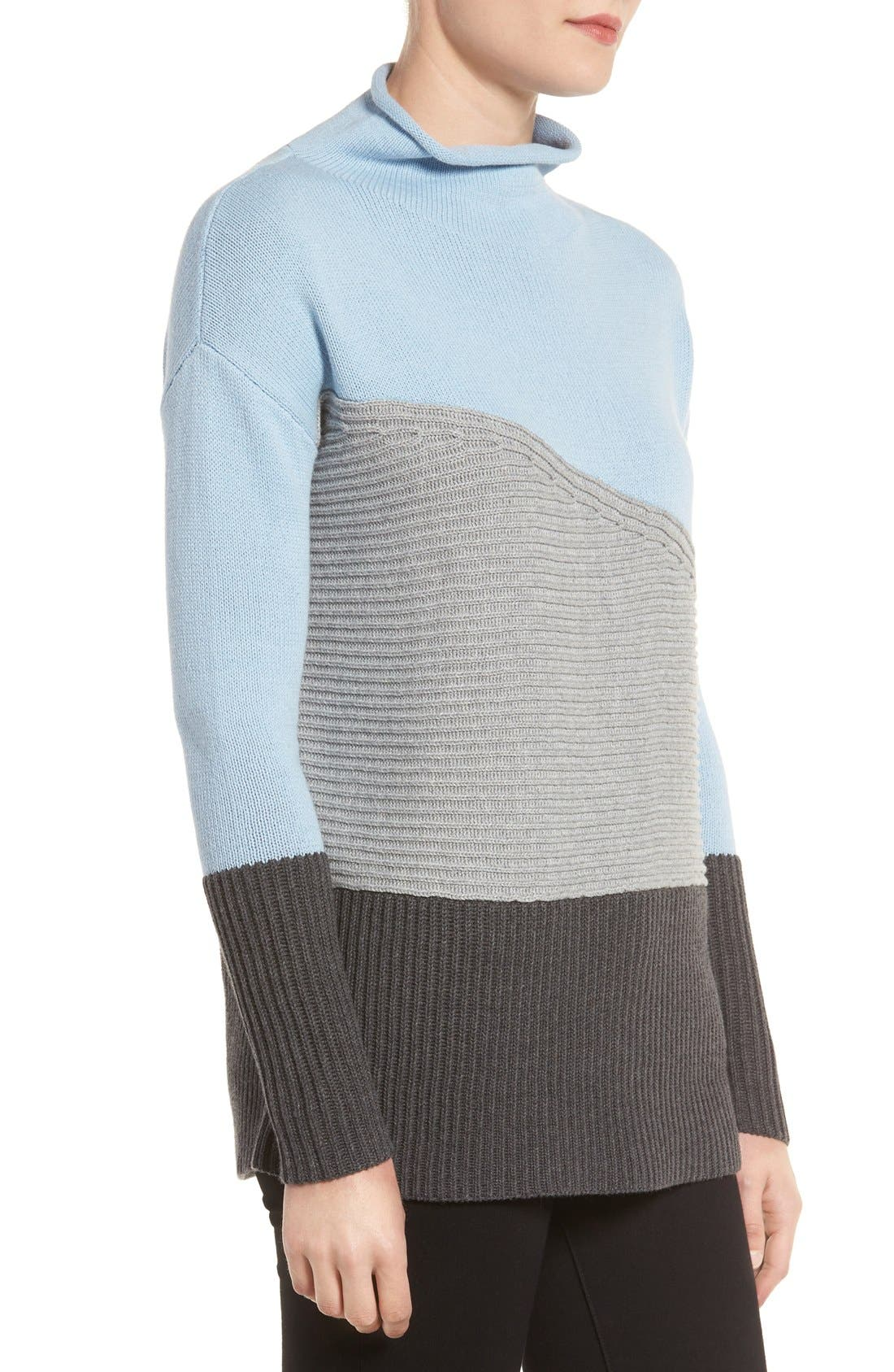 Alternate Image 3  - Vince Camuto Colorblock Turtleneck Sweater (Regular & Petite)