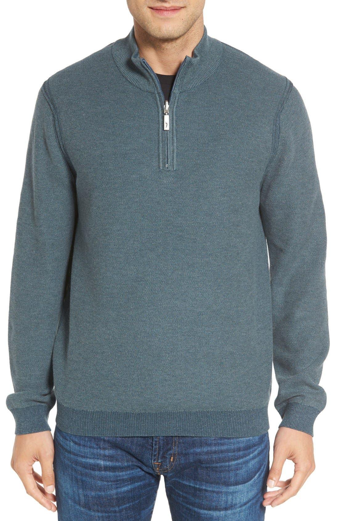 Make Mine a Double Reversible Quarter Zip Sweater,                         Main,                         color, Seaway