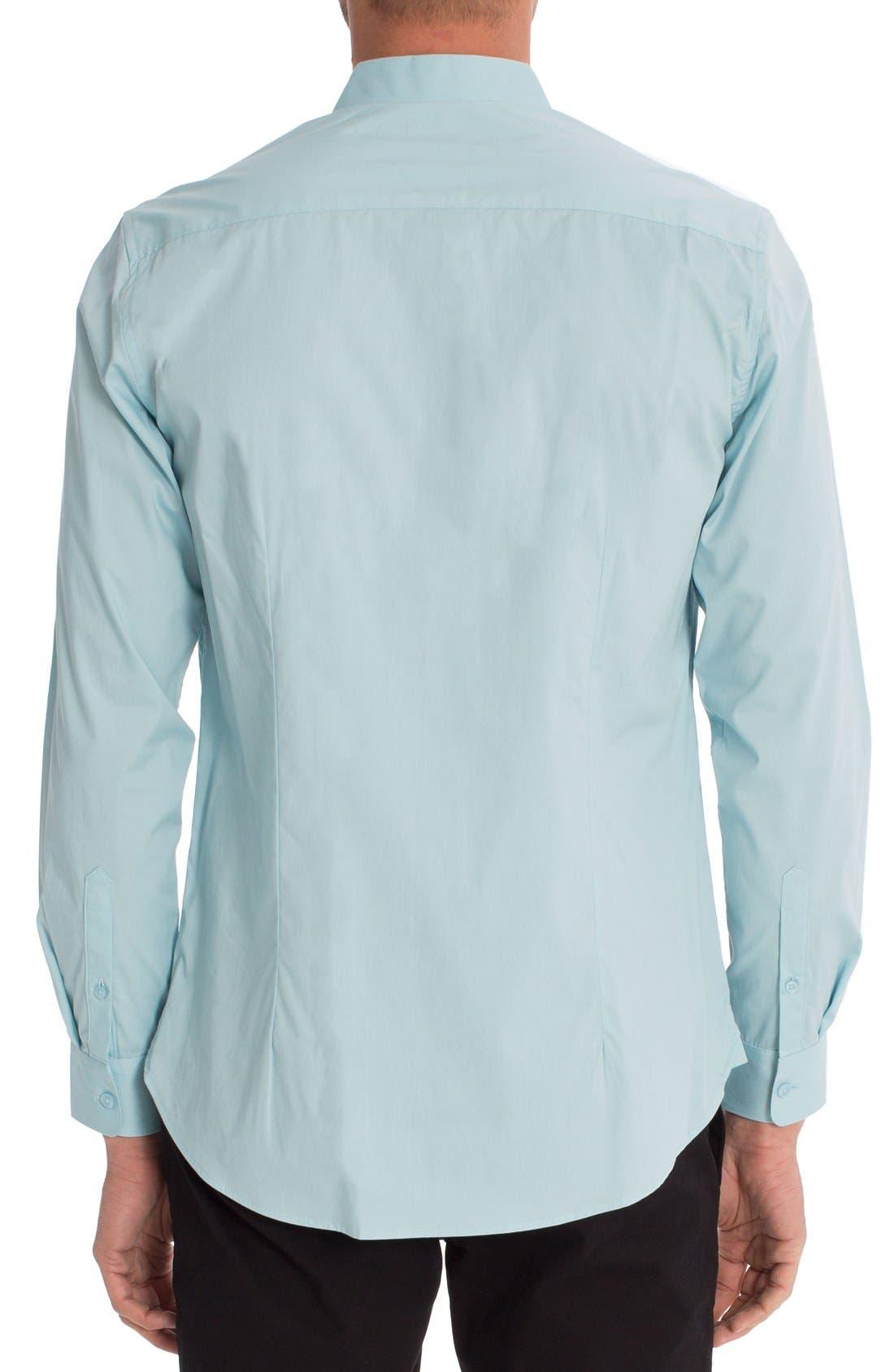 'Peace Train' Trim Fit Woven Shirt,                             Alternate thumbnail 2, color,                             Sterling Blue