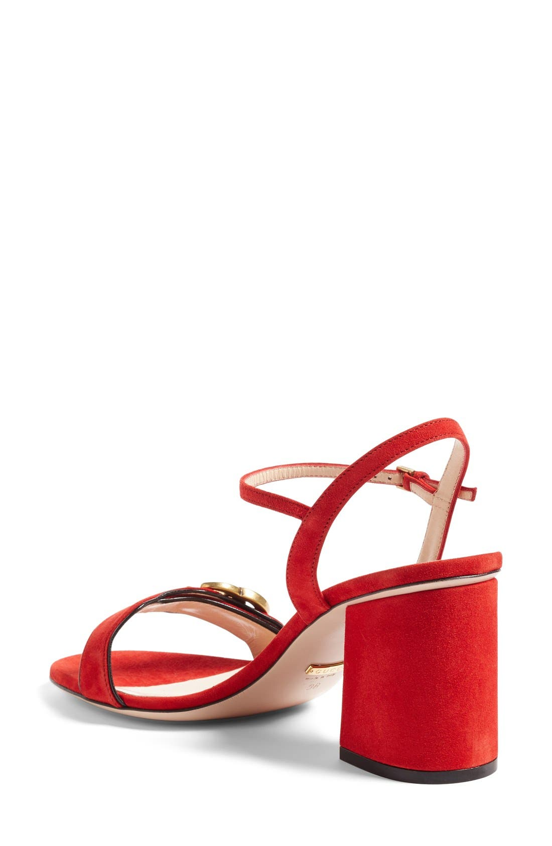 GG Marmont Sandal,                             Alternate thumbnail 2, color,                             Red Suede