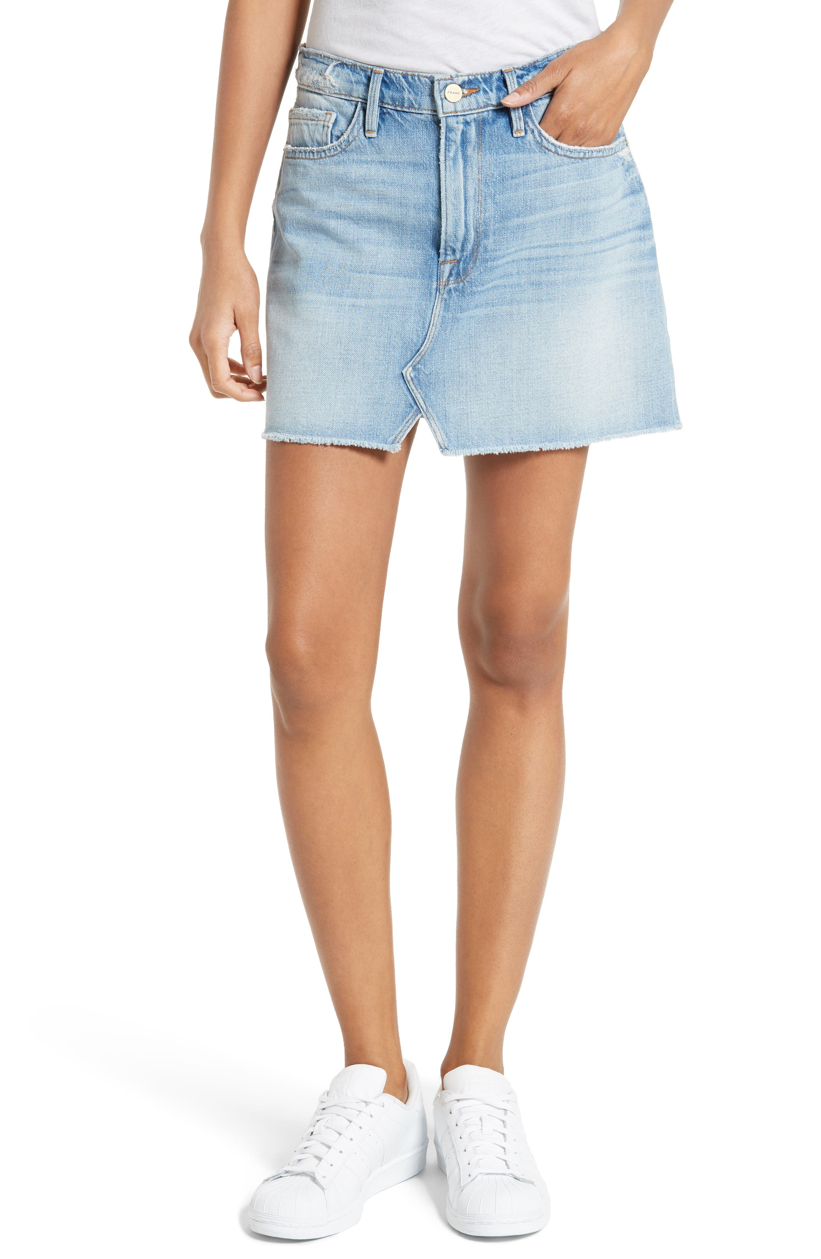 FRAME Le Mini Split Front Denim Skirt (Stoneview)