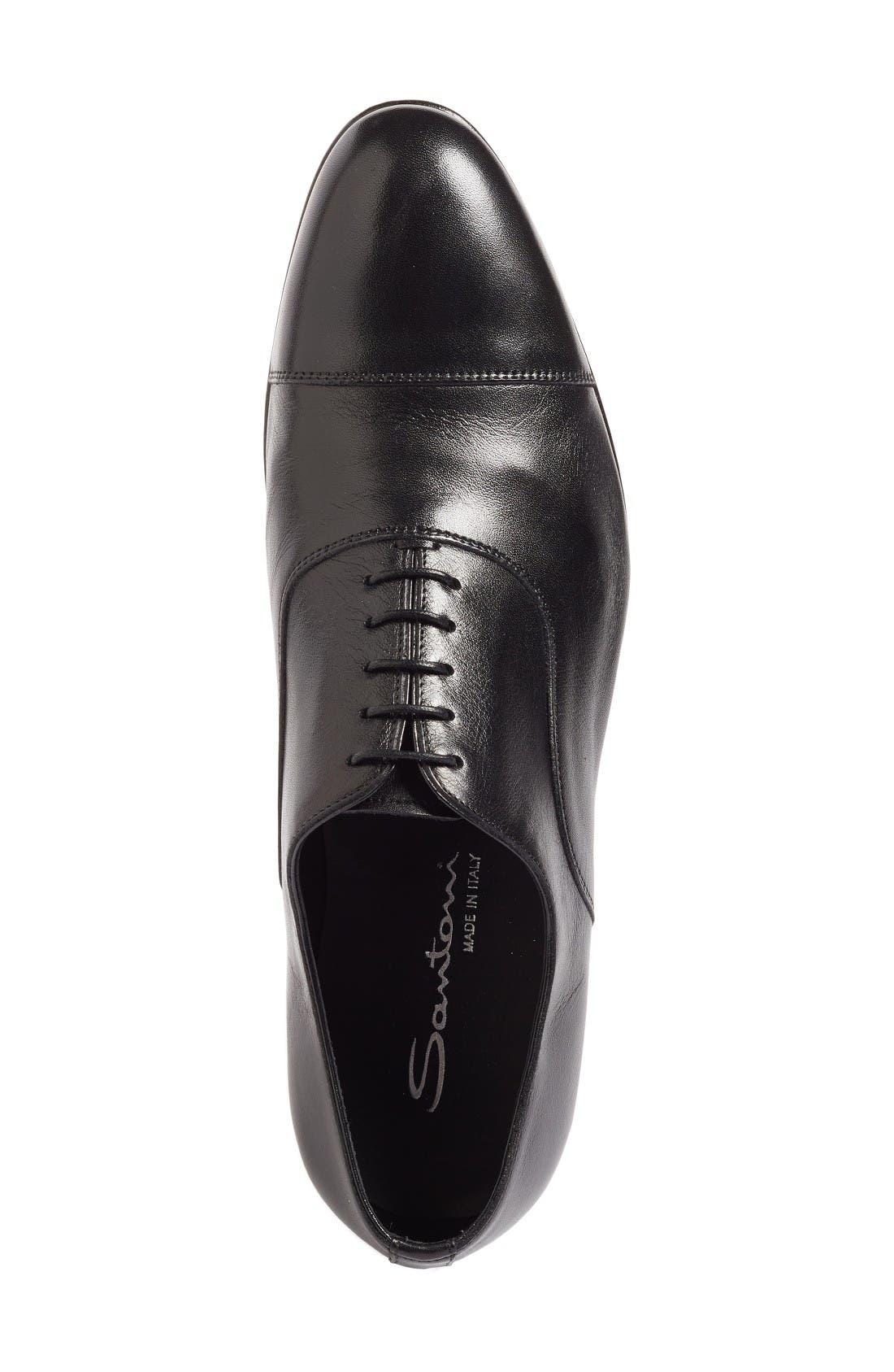 'Darian' Cap Toe Oxford,                             Alternate thumbnail 3, color,                             Black Leather