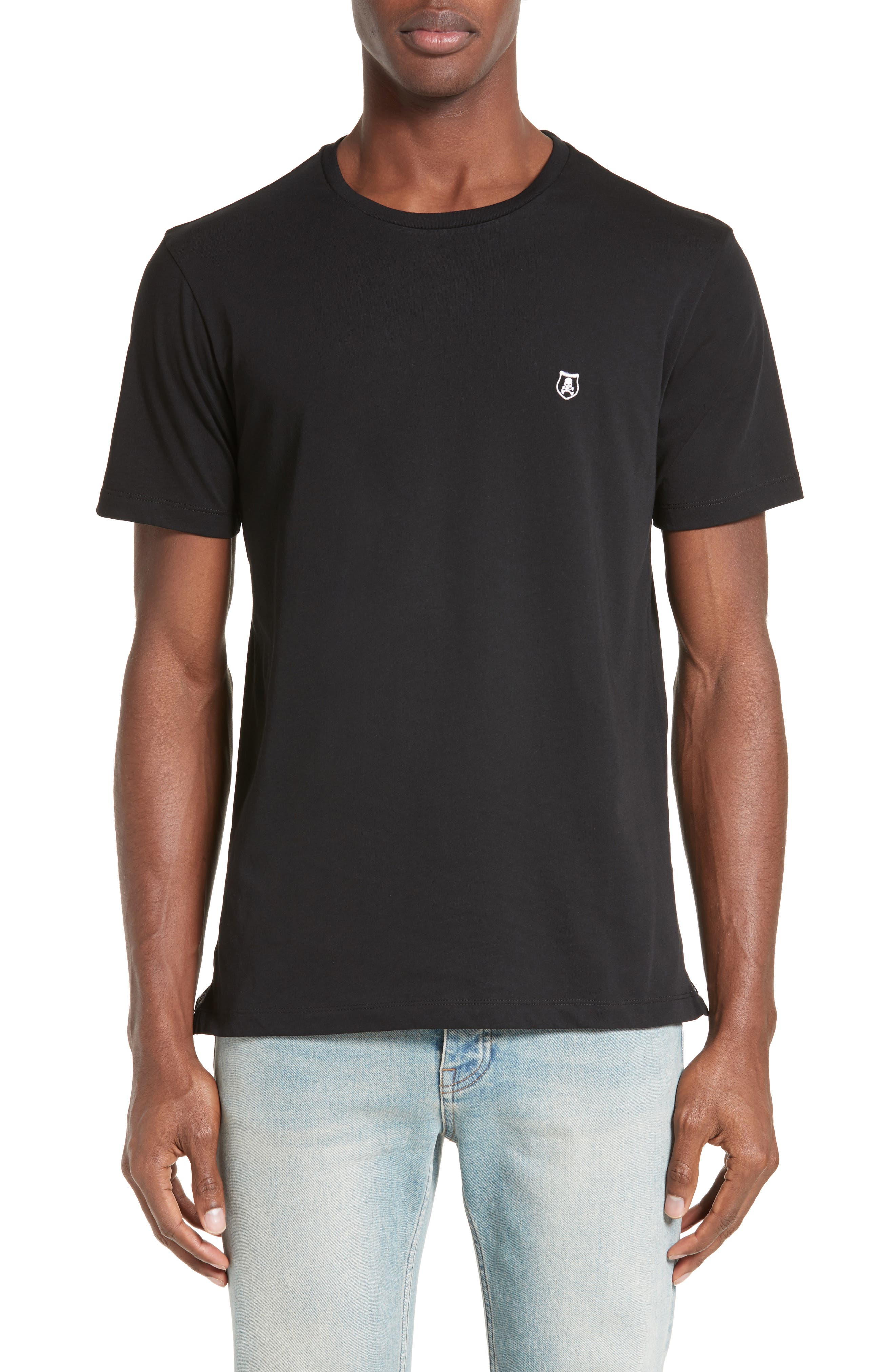 Embroidered T-Shirt,                         Main,                         color, Black