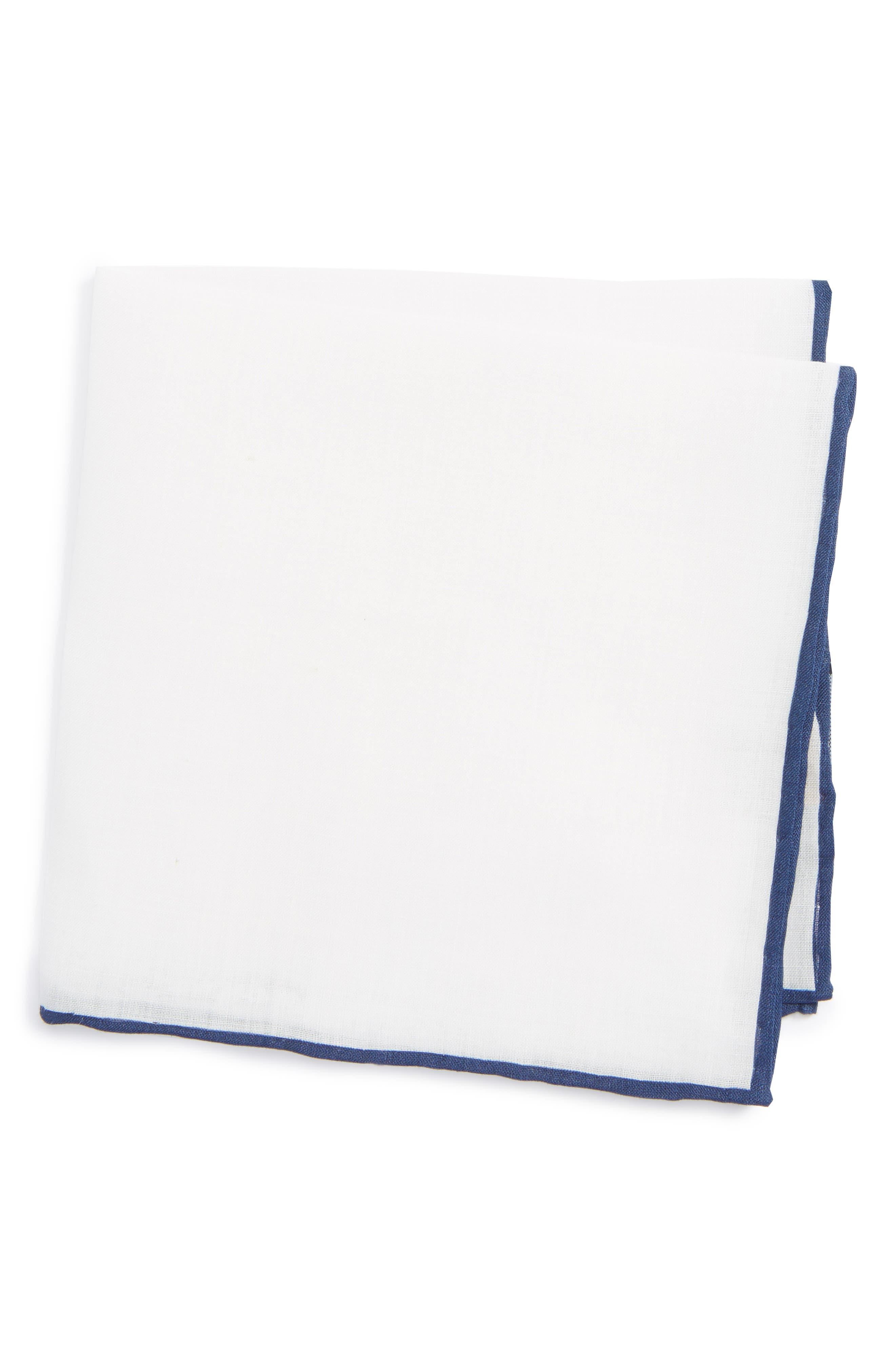 Solid Linen Pocket Square,                         Main,                         color, Navy