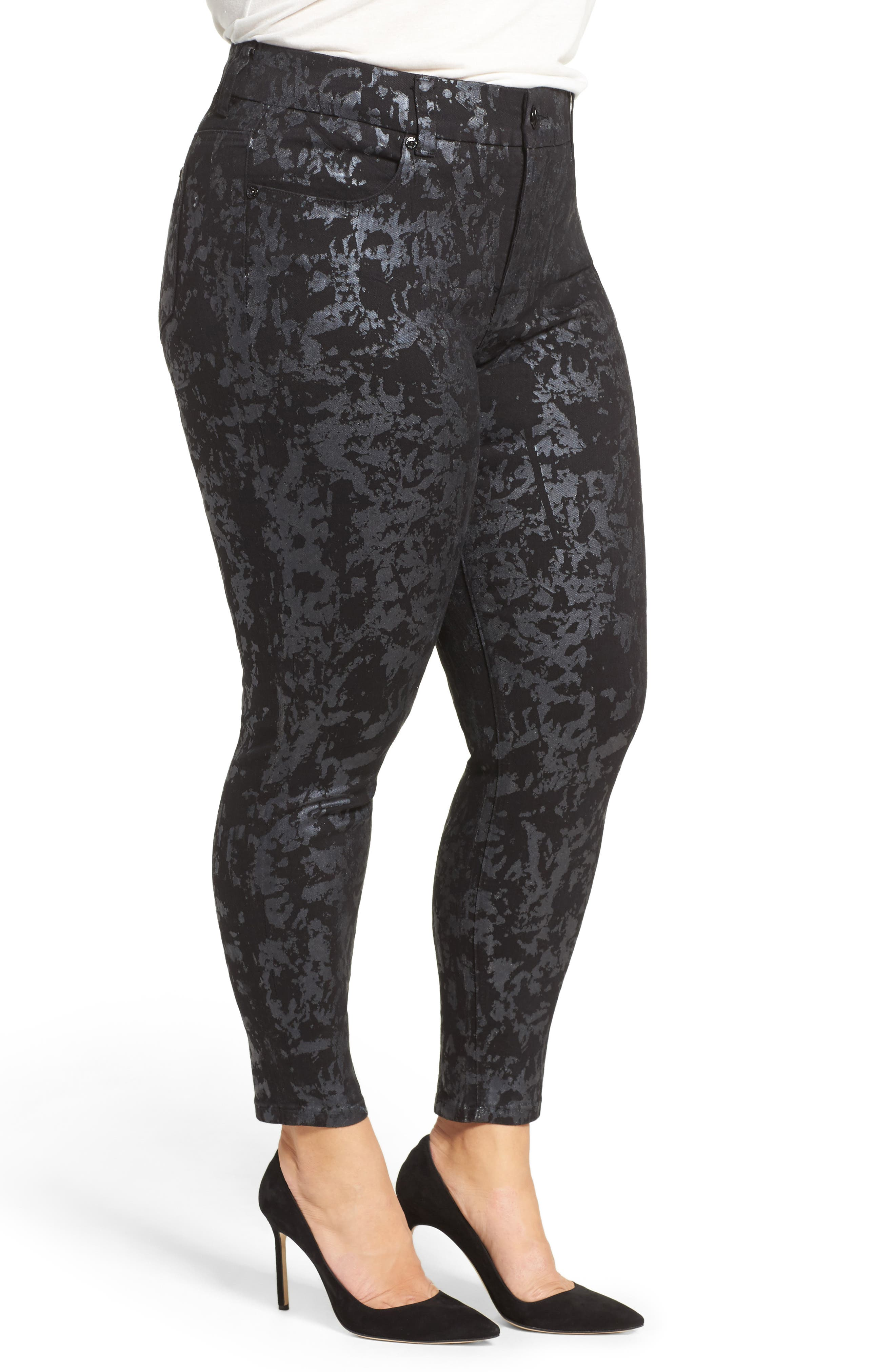 Alternate Image 3  - Melissa McCarthy Seven7 Stretch Foil Print Pencil Jeans (Plus Size)