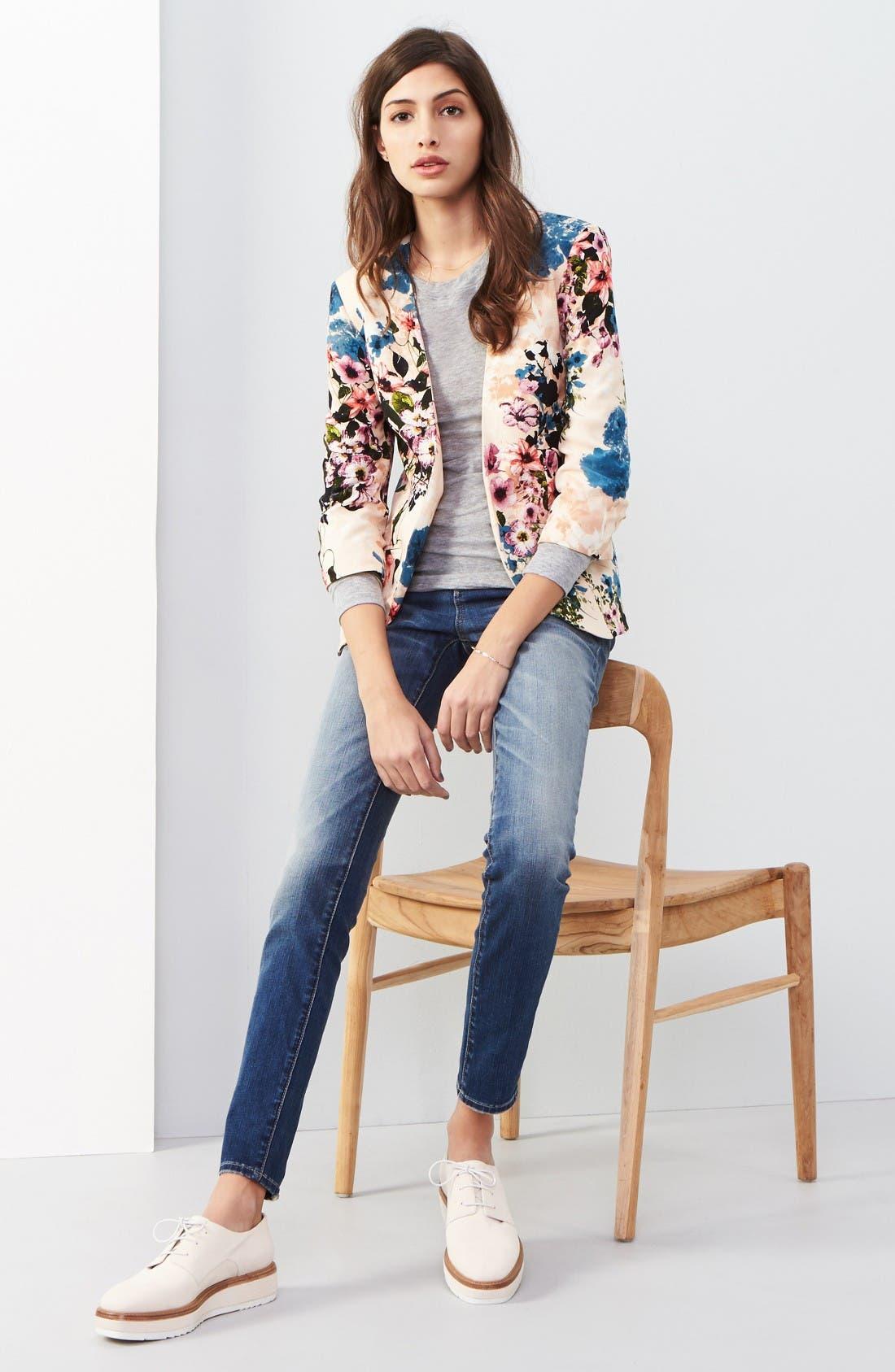 High Waist Skinny Jeans,                             Alternate thumbnail 2, color,                             Rain Medium Worn