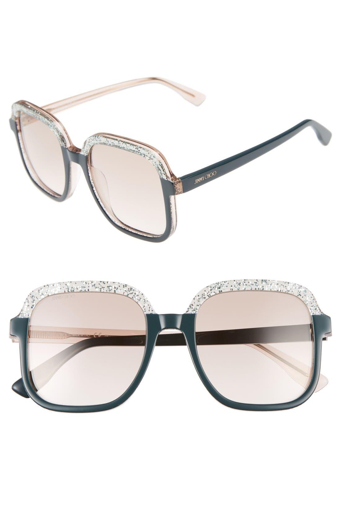 Main Image - Jimmy Choo 53mm Glitter Frame Sunglasses