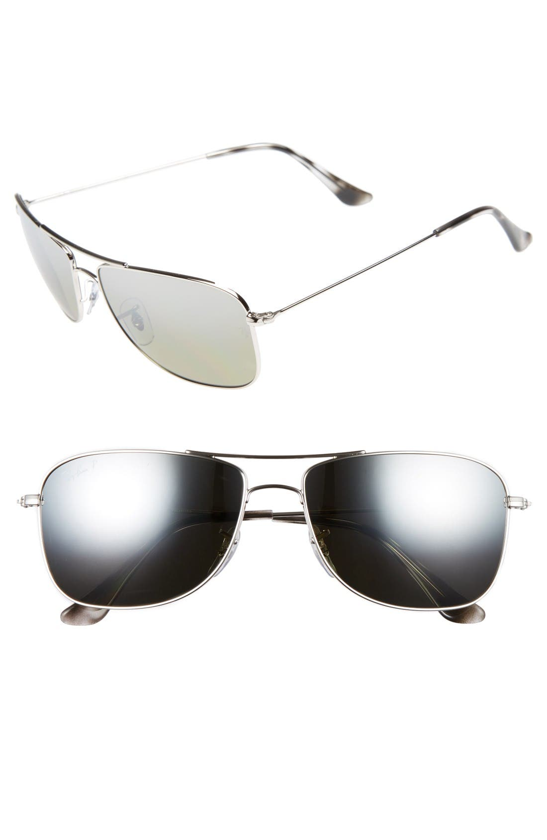 59mm Chromance Aviator Sunglasses,                             Main thumbnail 1, color,                             Shiny Silver/Grey Mirror
