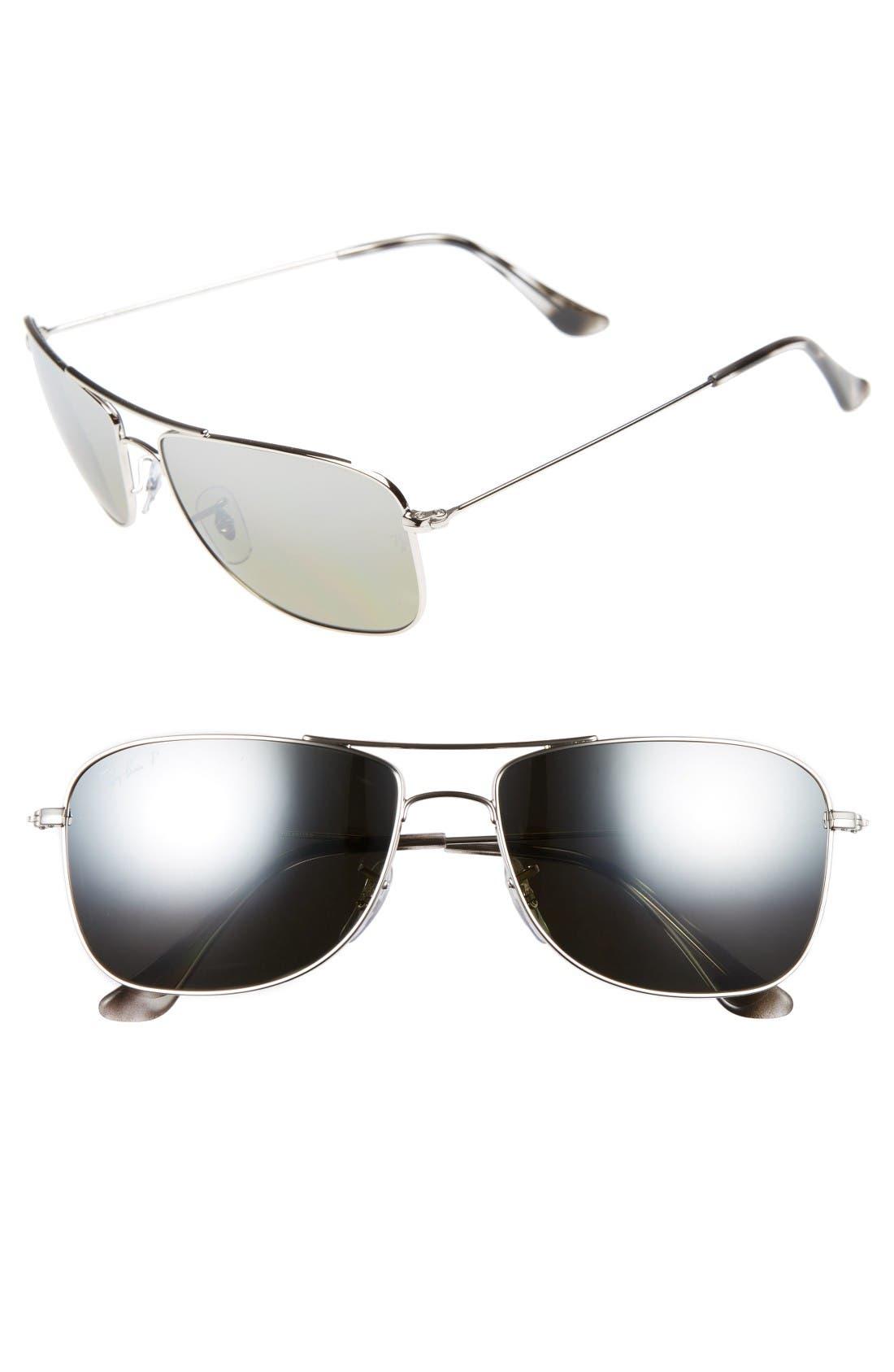 59mm Chromance Aviator Sunglasses,                         Main,                         color, Shiny Silver/Grey Mirror