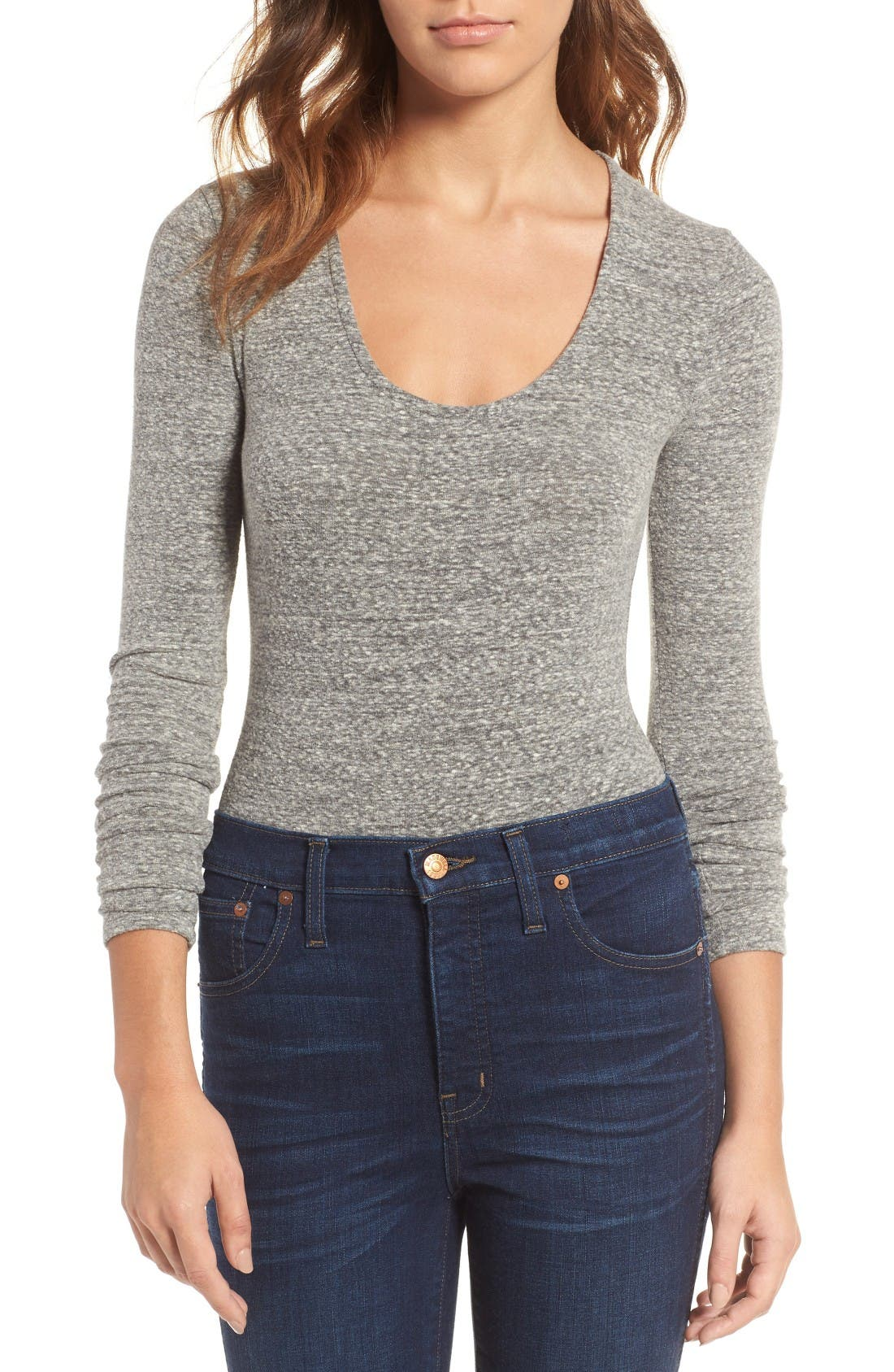 Song Stretch Jersey Bodysuit,                         Main,                         color, Heather Smoke