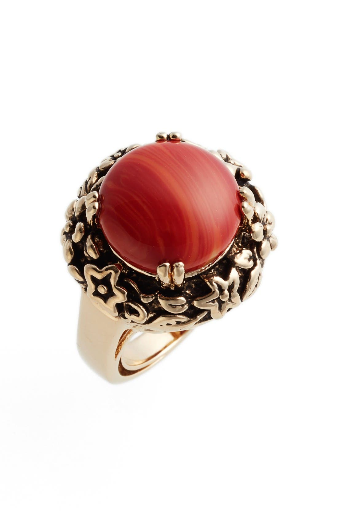 Main Image - METAL AND STONE Floral Set Ring