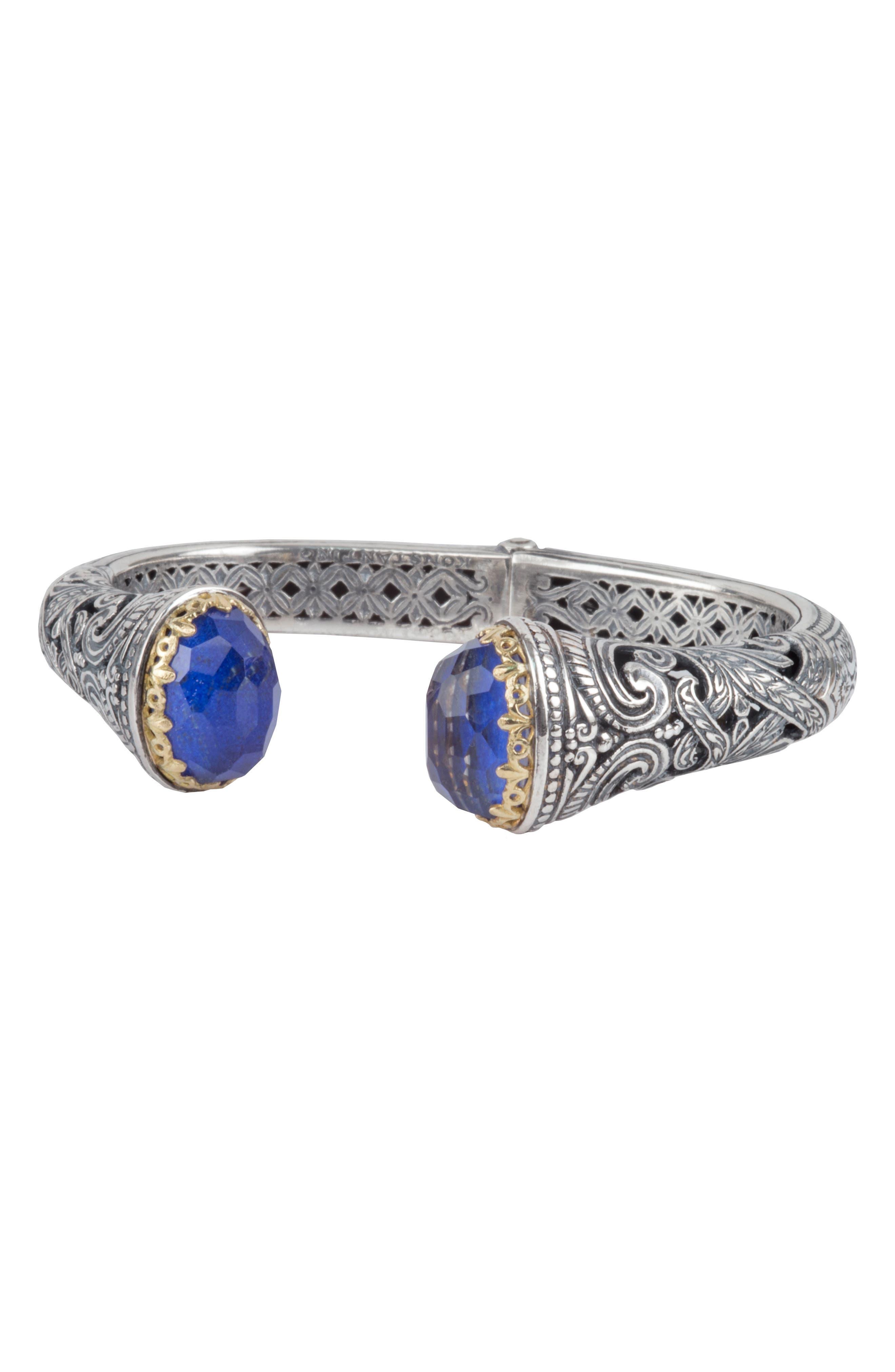 Andromeda Lapis Lazuli Hinge Cuff,                         Main,                         color, Sterling Silver