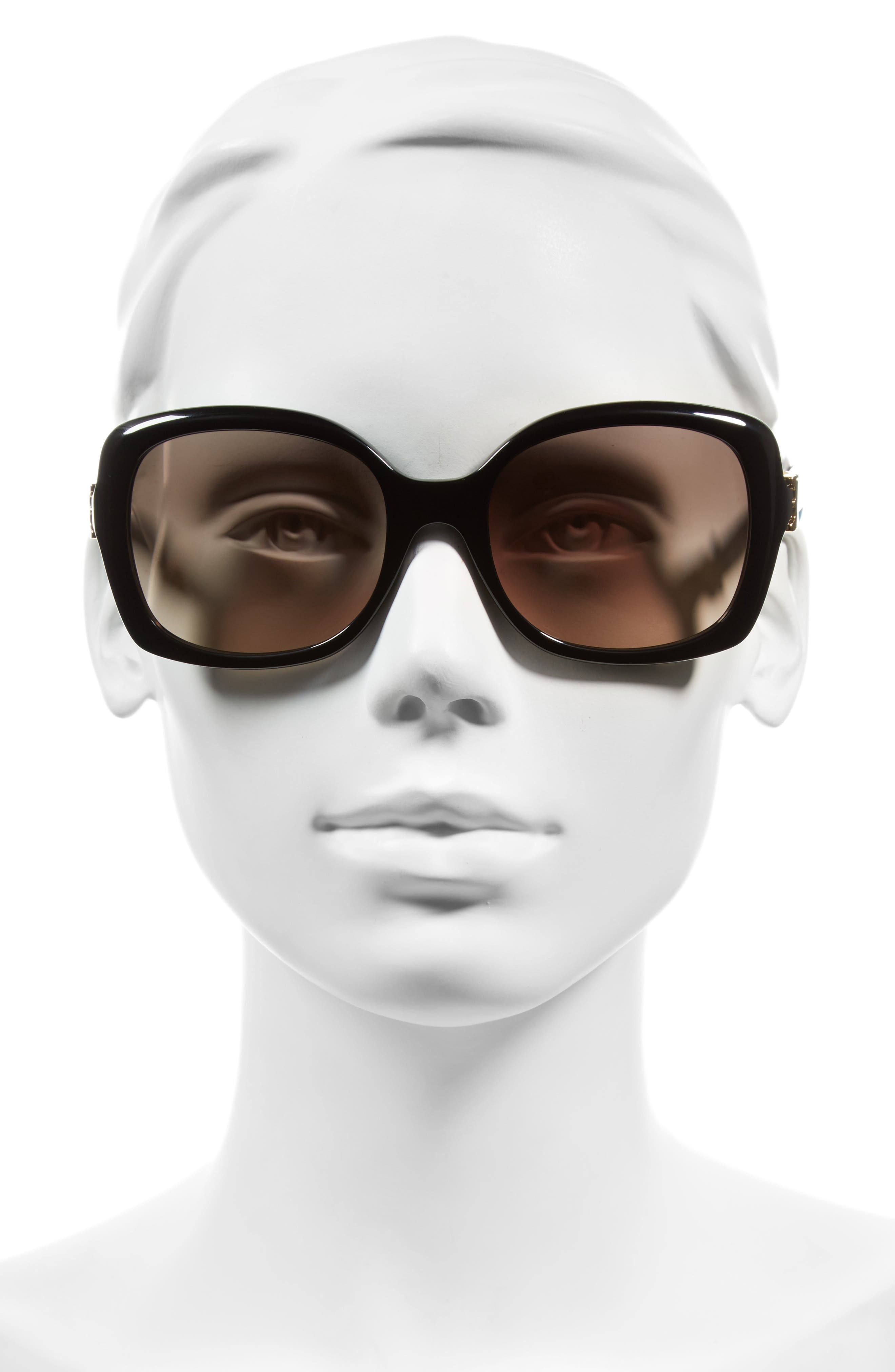 57mm Oversized Sunglasses,                             Alternate thumbnail 2, color,                             Black