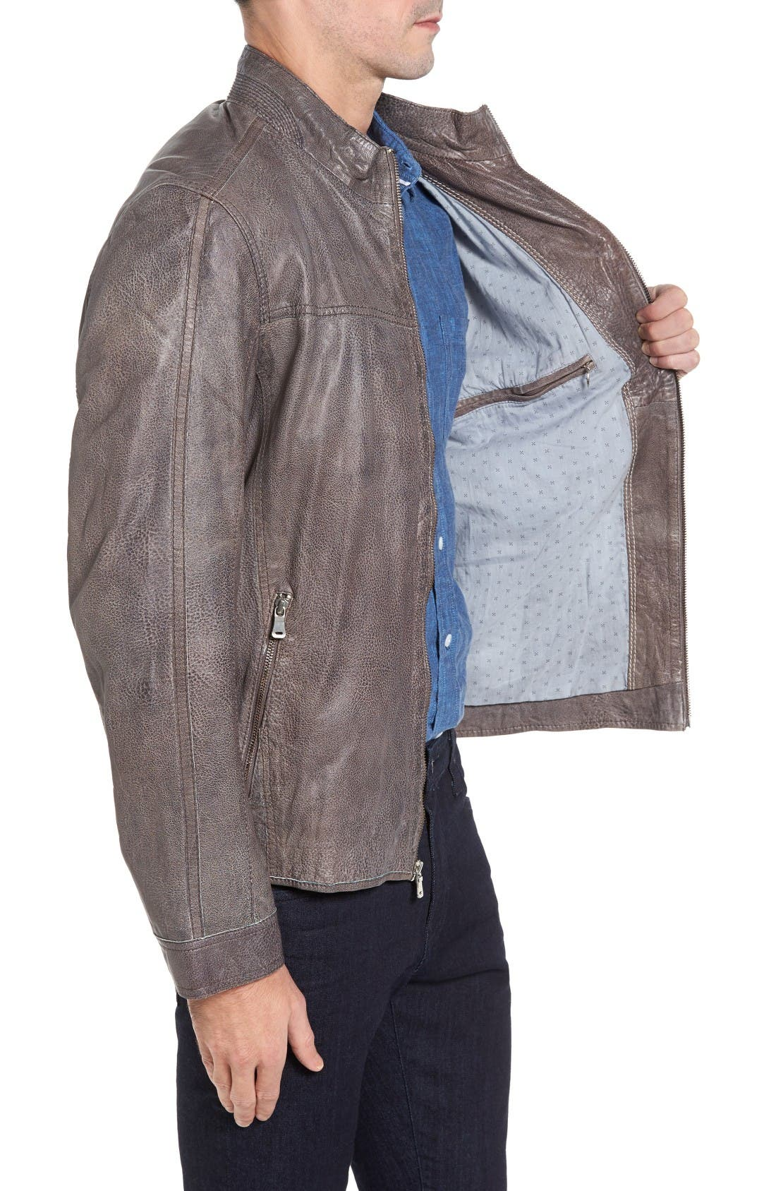 Lambskin Leather Jacket,                             Alternate thumbnail 3, color,                             Slate Grey