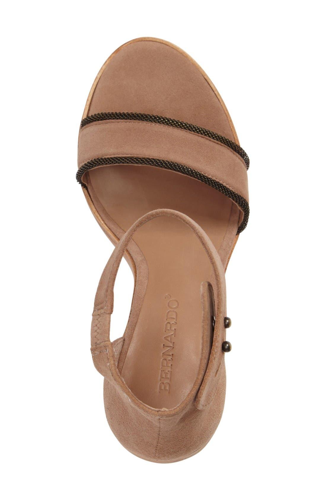 Bernardo Hayden Ankle Strap Sandal,                             Alternate thumbnail 3, color,                             Sand Suede