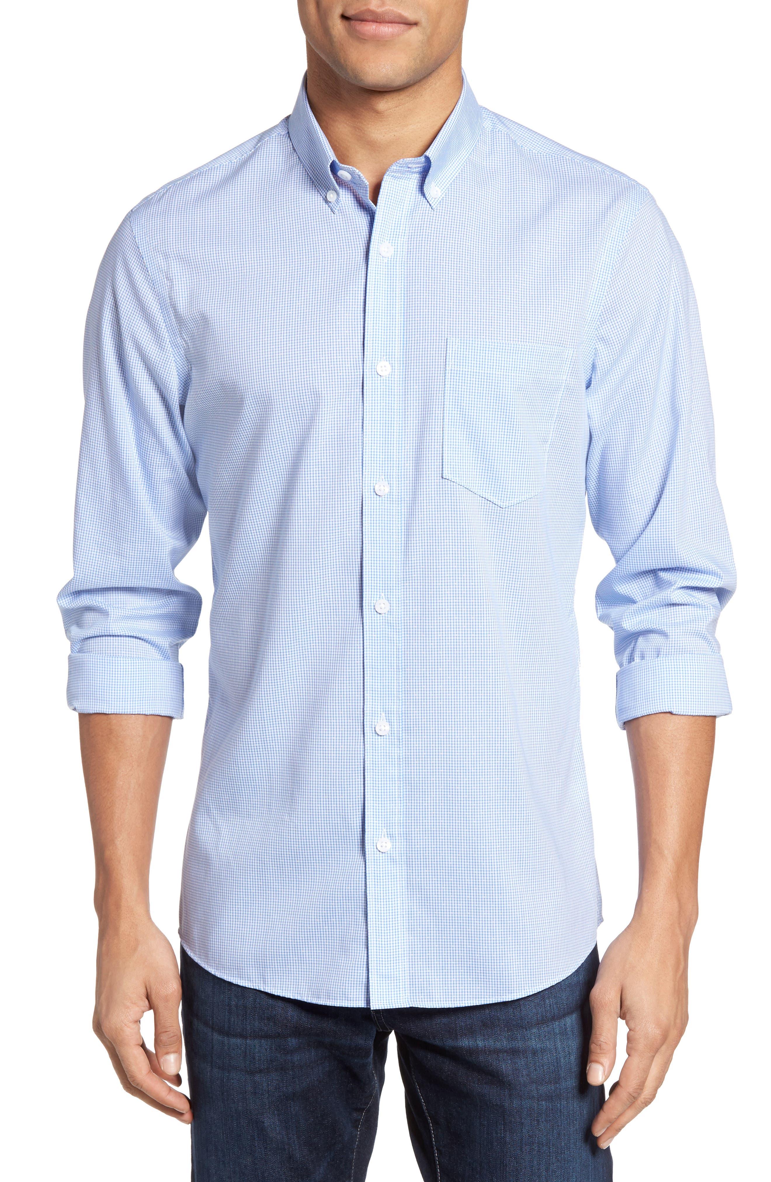 Main Image - Nordstrom Men's Shop Trim Fit Non-Iron Dobby Check Sport Shirt (Regular & Tall)