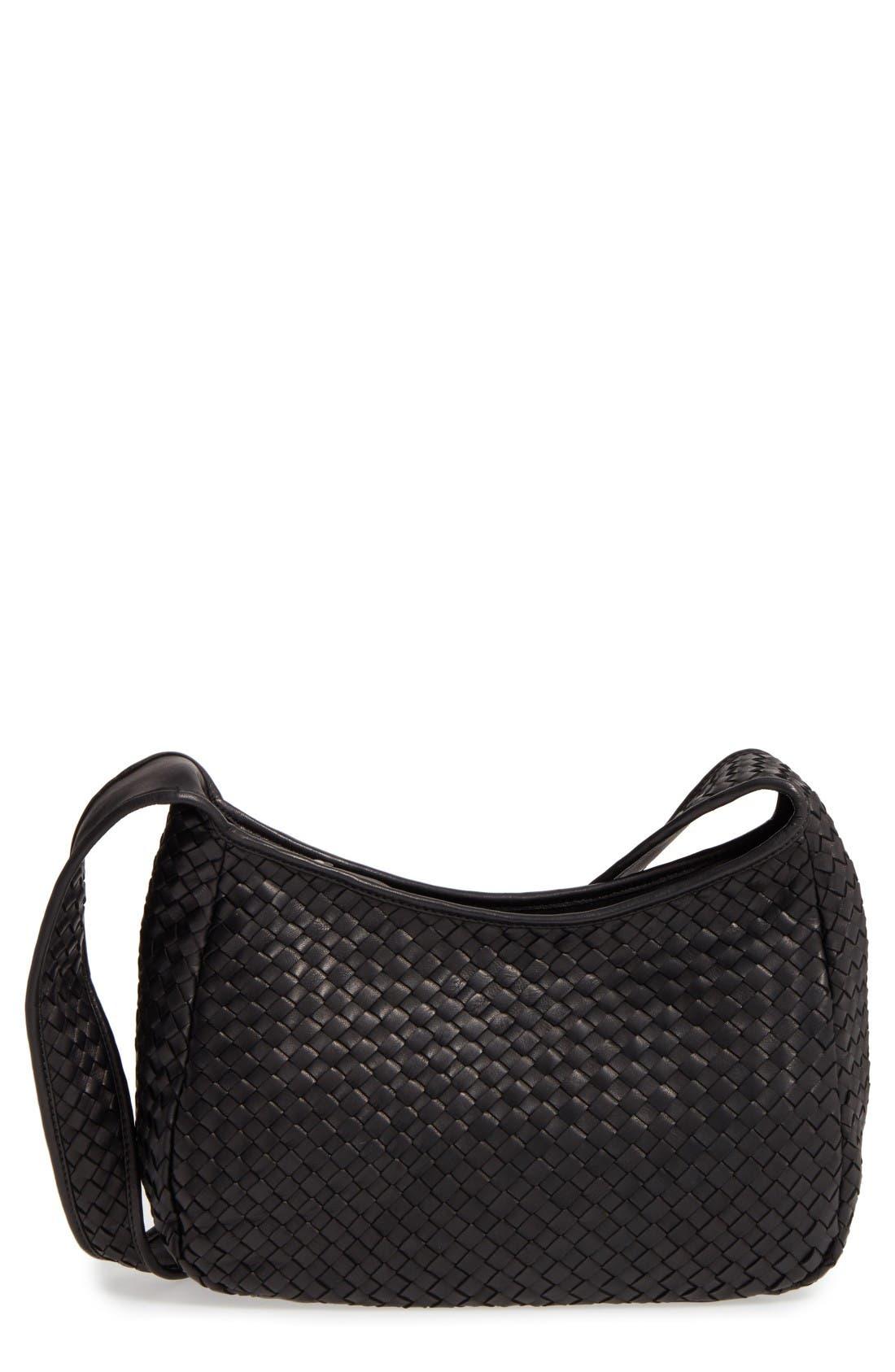 Small Delia Leather Hobo,                         Main,                         color, Black