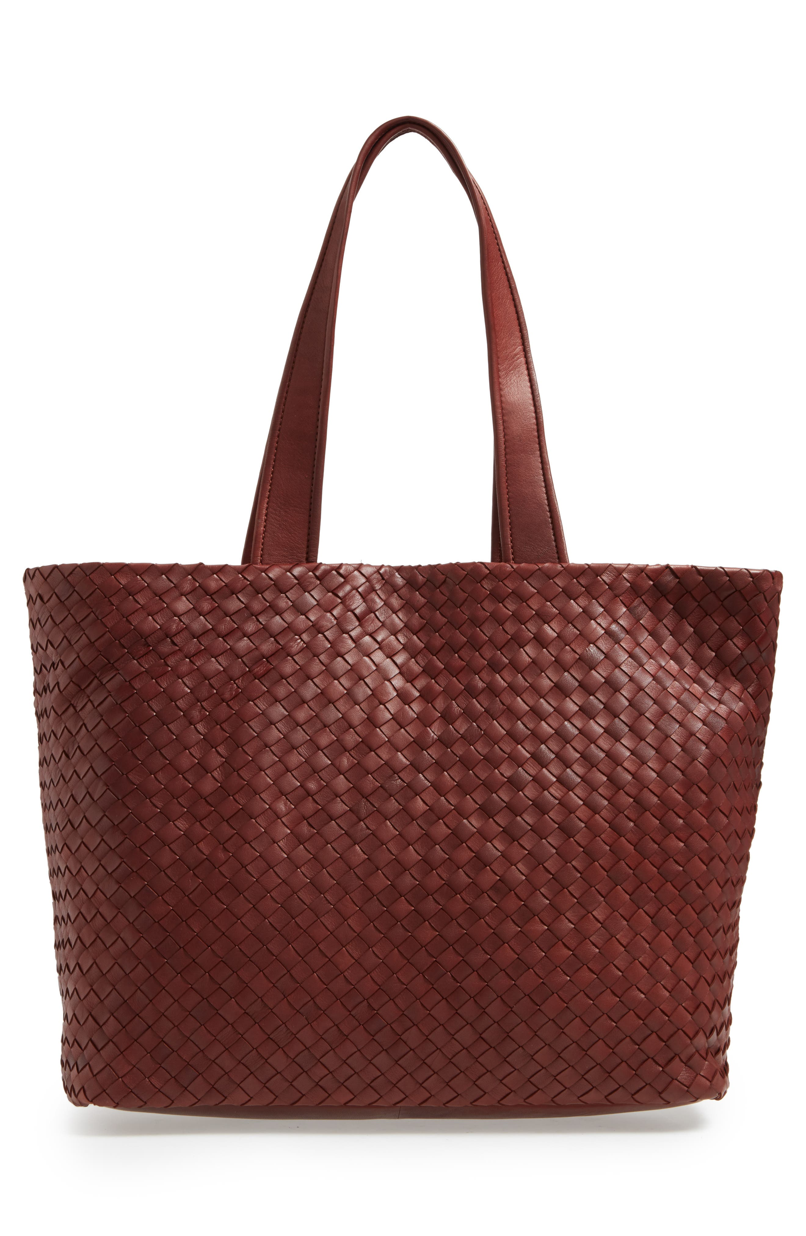 Rina Leather Tote,                             Alternate thumbnail 3, color,                             Luggage