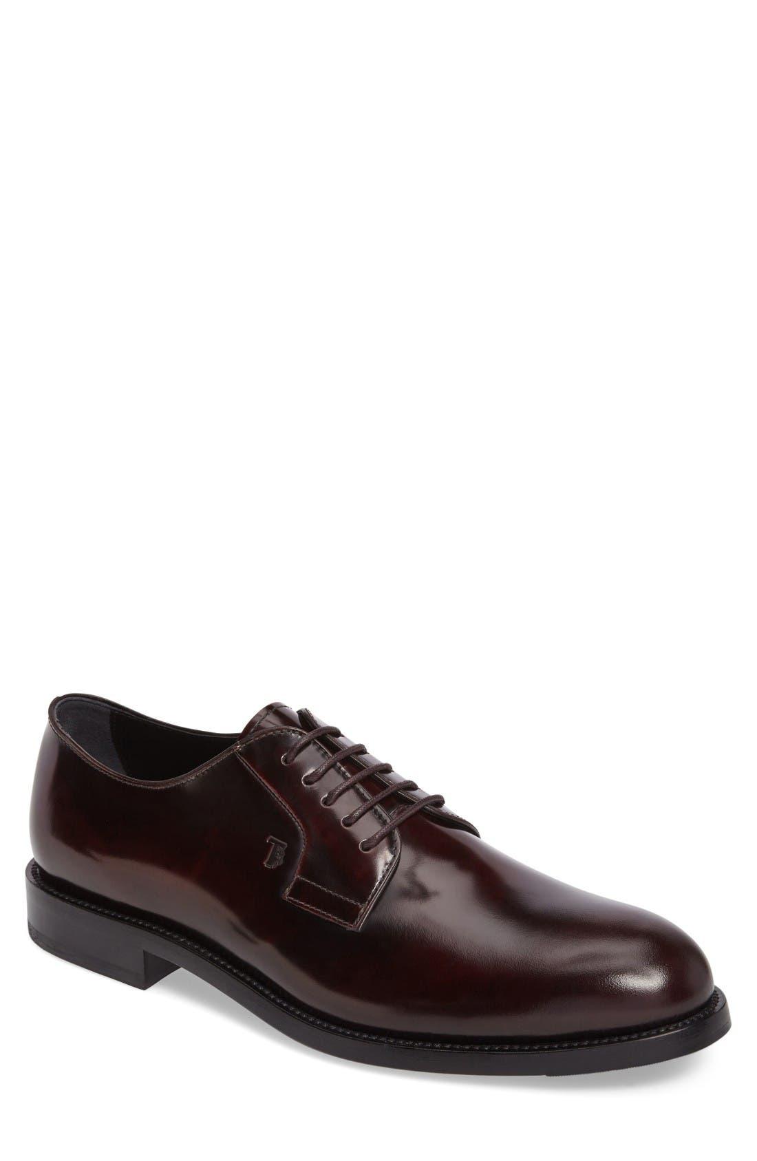 Plain Toe Derby,                             Main thumbnail 1, color,                             Burgundy Leather
