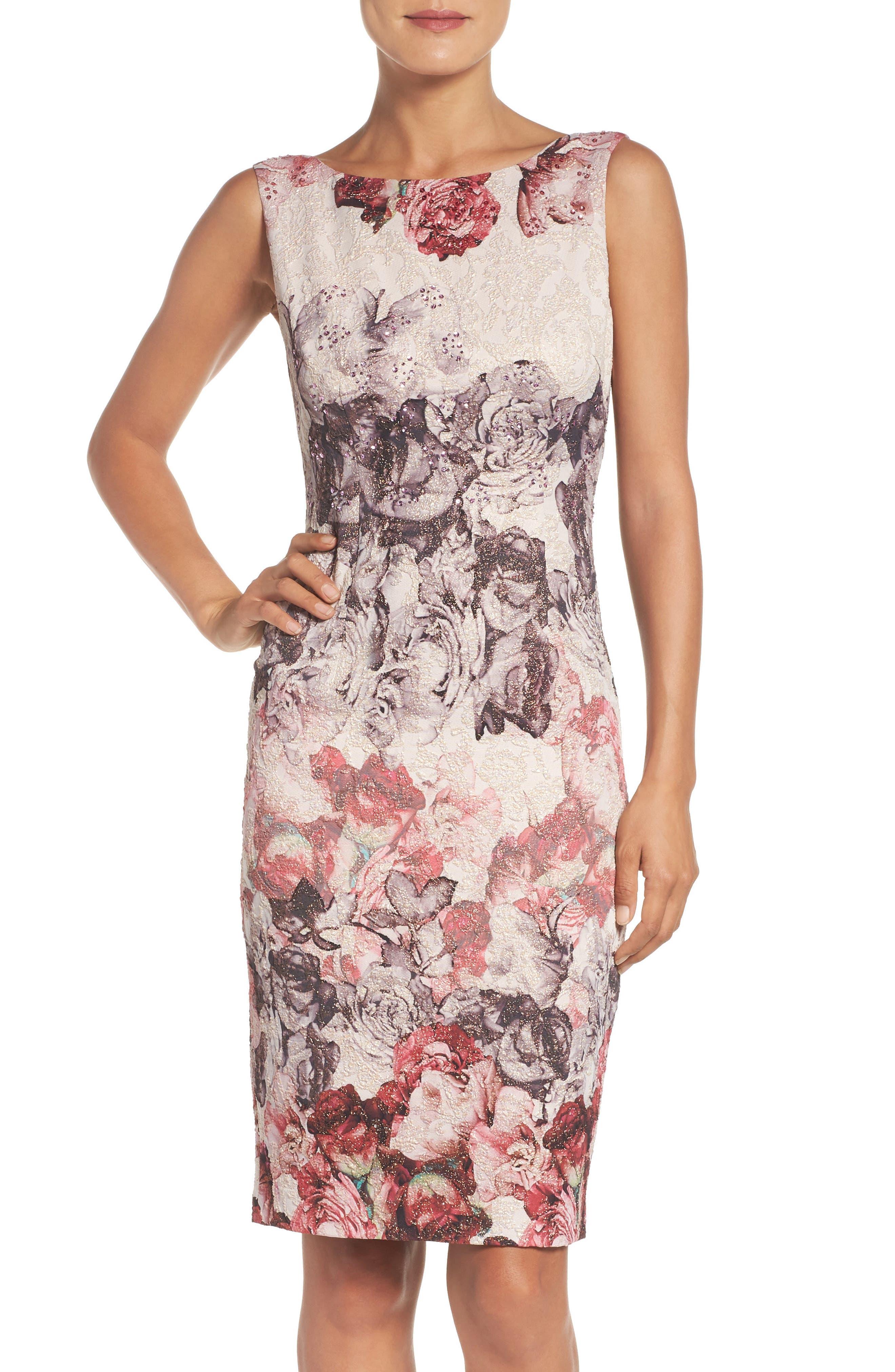 Embellished Sheath Dress,                         Main,                         color, Shell Multi