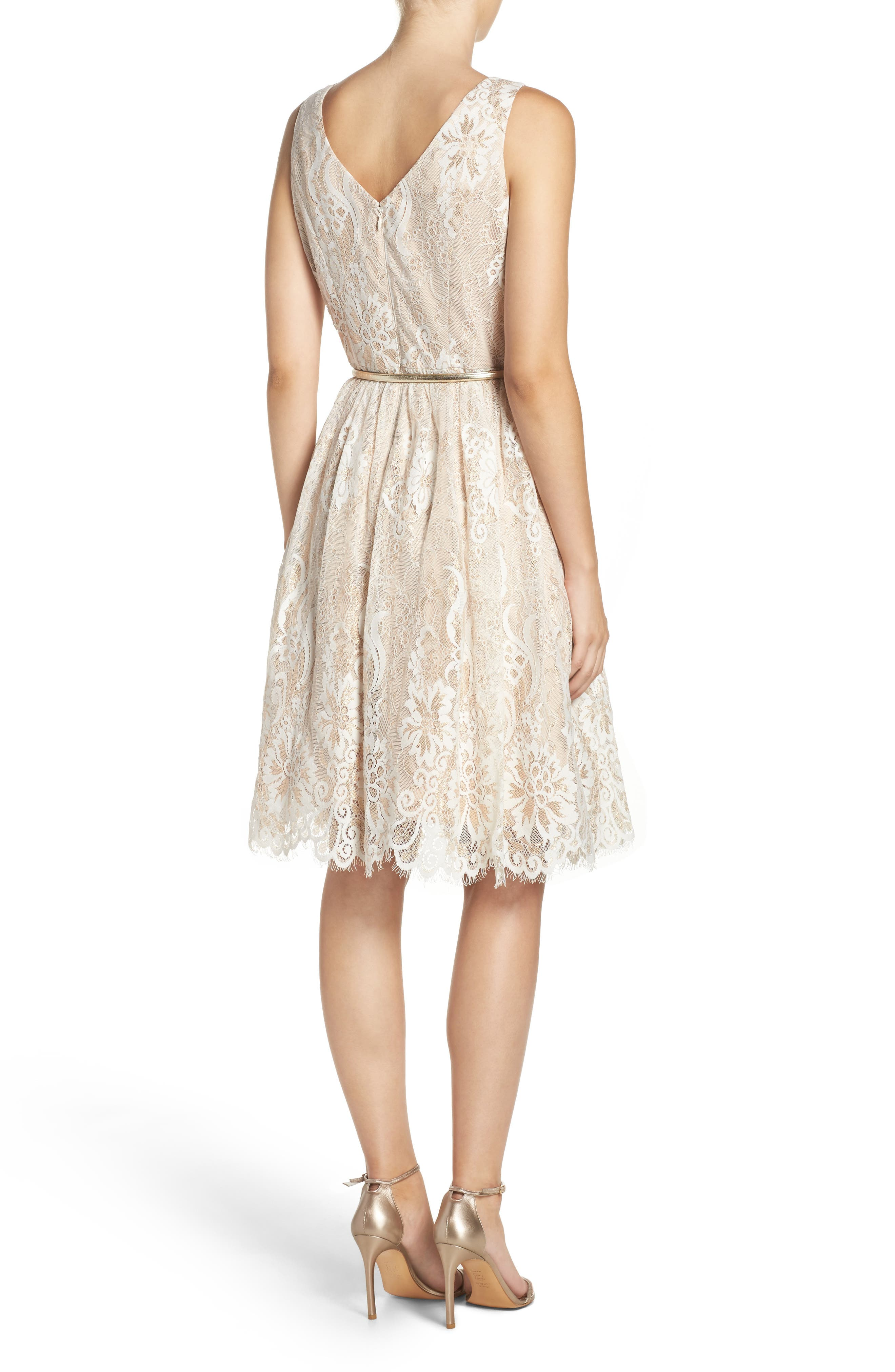 Alternate Image 2  - Eliza J Belted Lace Fit & Flare Dress