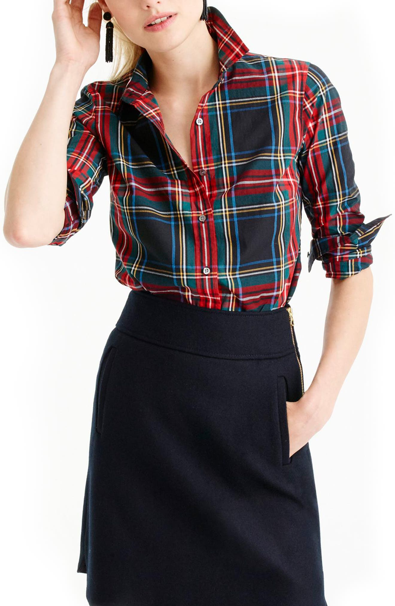 Perfect Stewart Plaid Shirt,                             Main thumbnail 1, color,                             Black