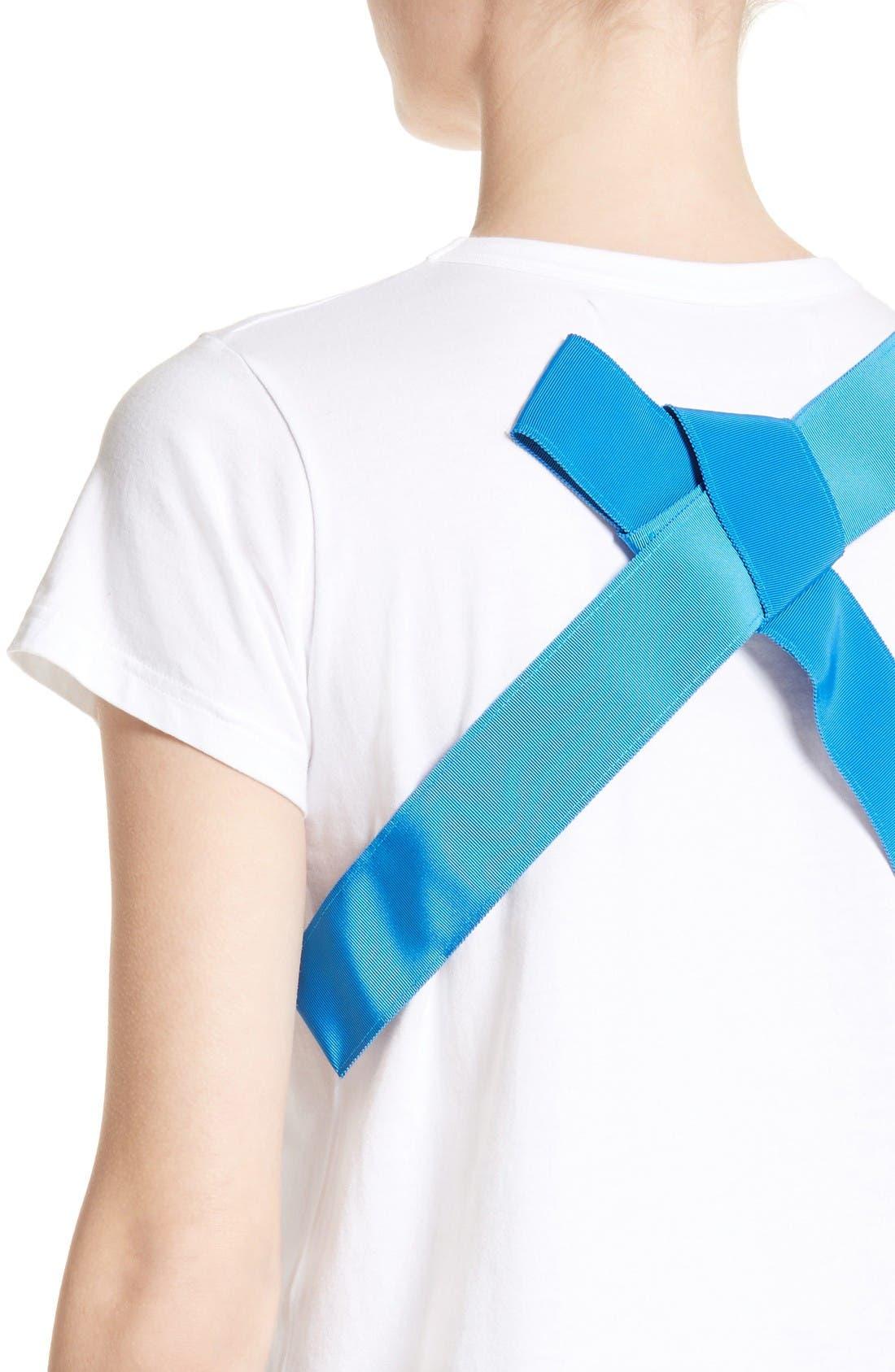 Ribbon Back Tee,                             Alternate thumbnail 6, color,                             White/Blue