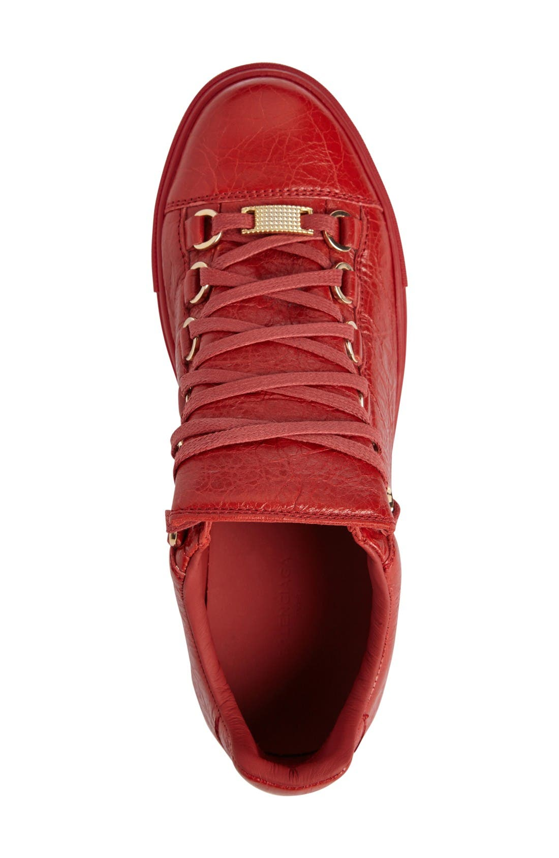 Low Top Sneaker,                             Alternate thumbnail 3, color,                             Red Leather