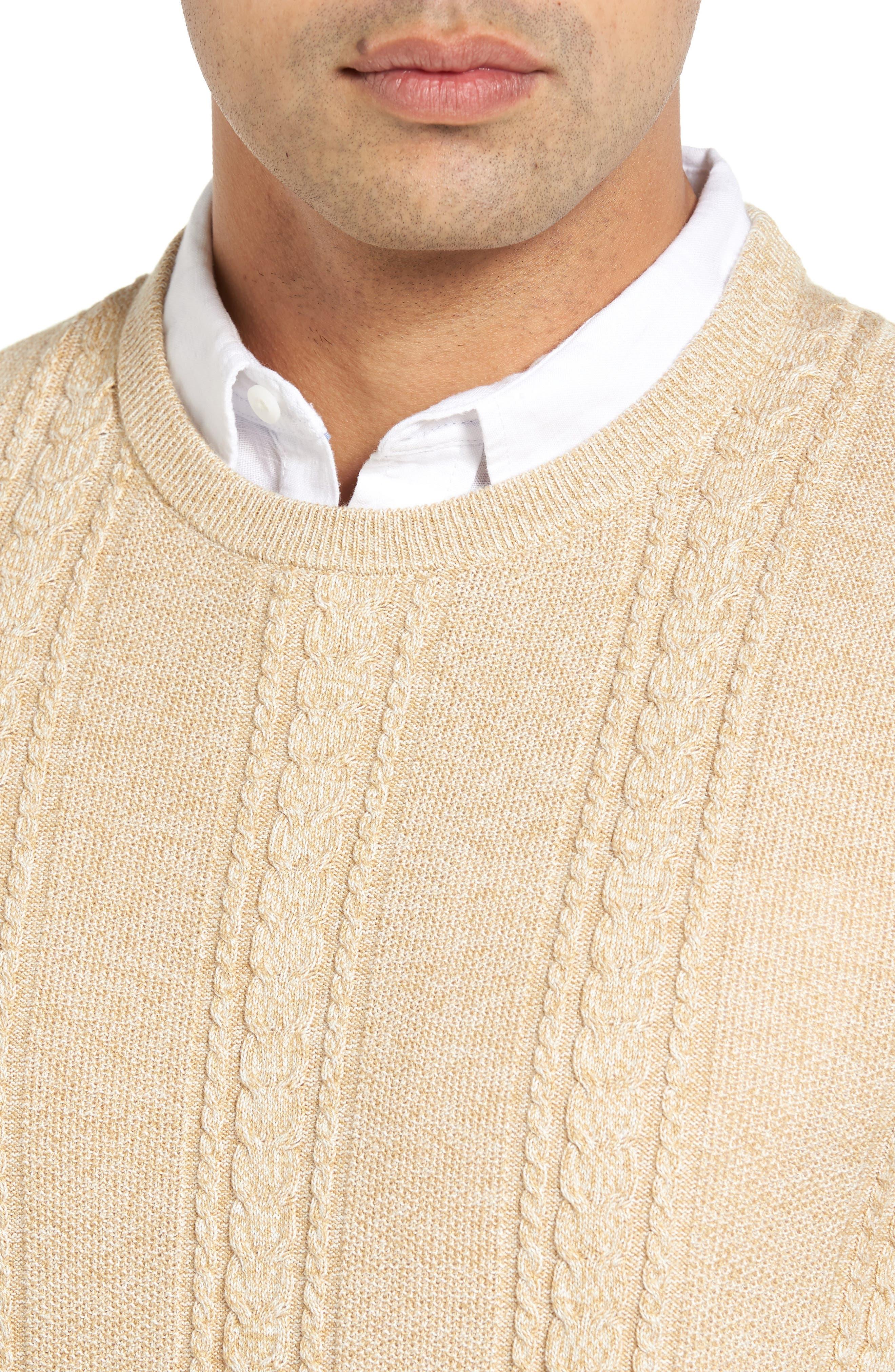 Marled Silk Blend Sweater,                             Alternate thumbnail 4, color,                             Golden Honey