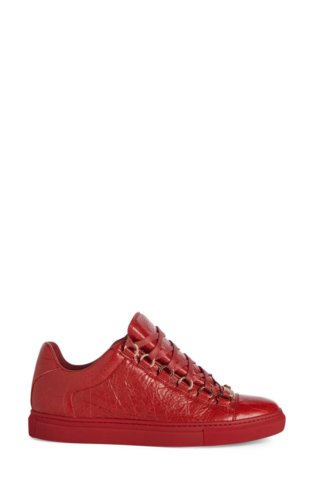 Low Top Sneaker,                             Alternate thumbnail 4, color,                             Red Leather