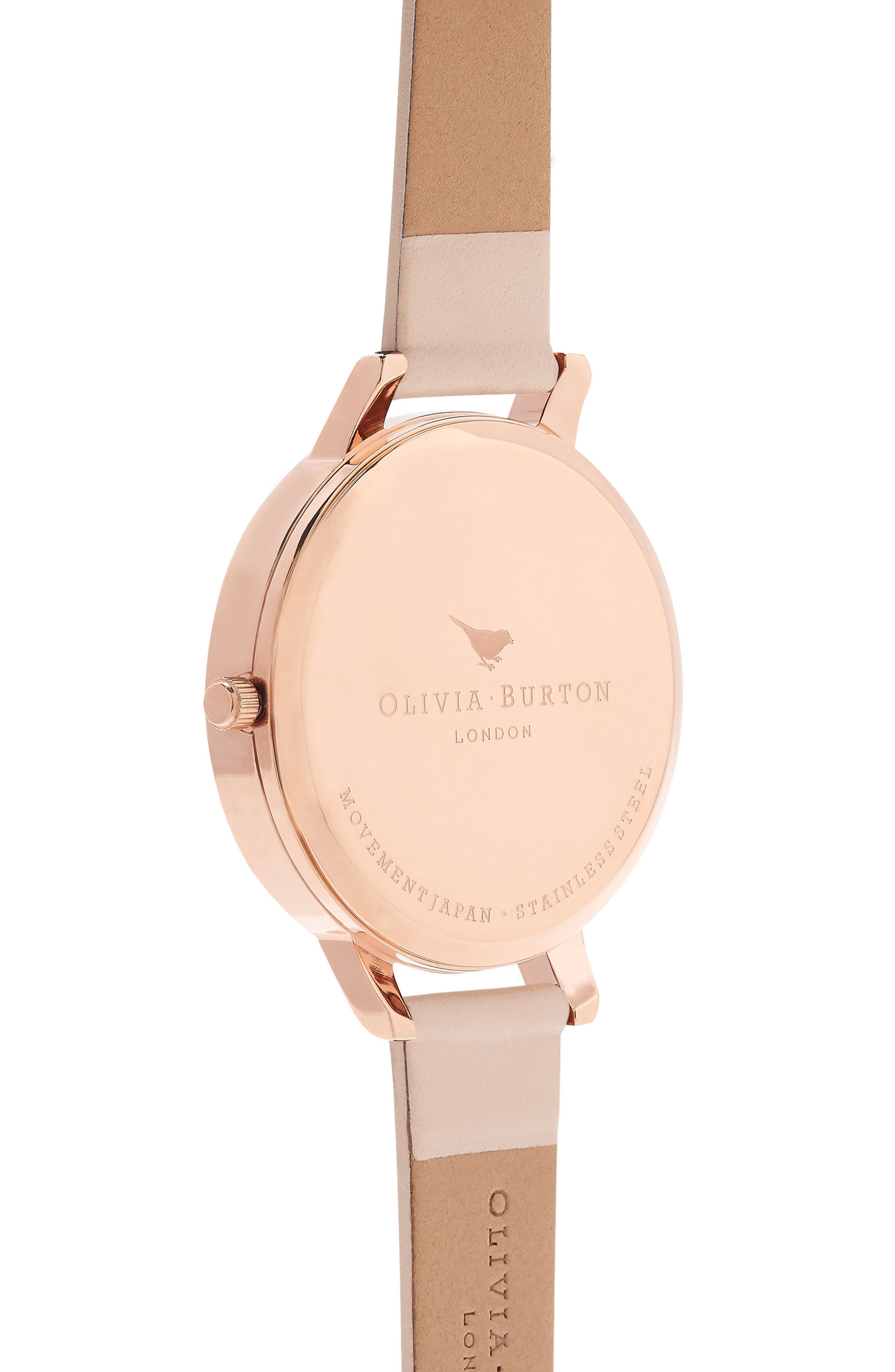 Alternate Image 2  - Olivia Burton Butterfly Wing Leather Strap Watch, 38mm